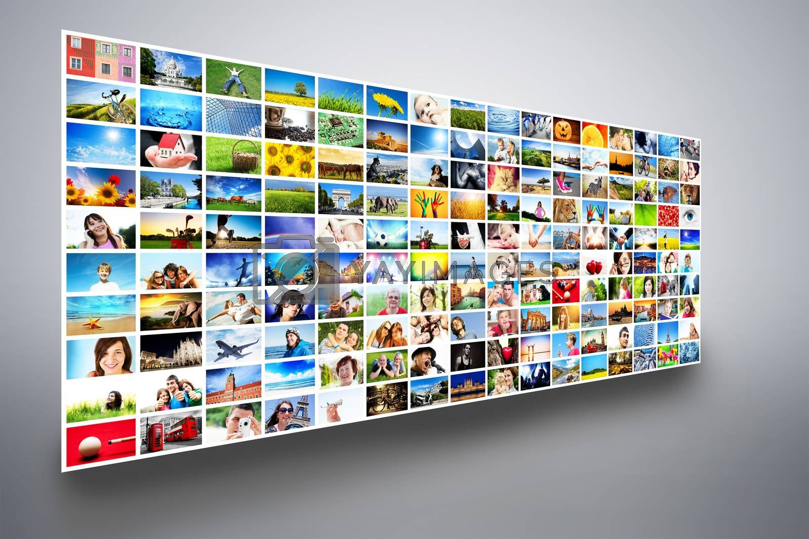 Royalty free image of Pictures display on wide modern monitors, screens forming a multimedia broadcast by photocreo