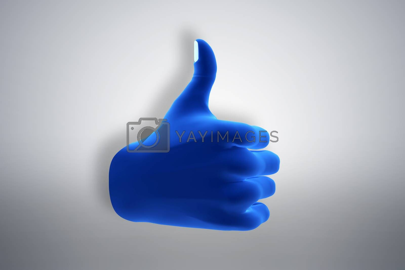 Royalty free image of Blue hand gesture showing OK, like, agree. Social media by photocreo