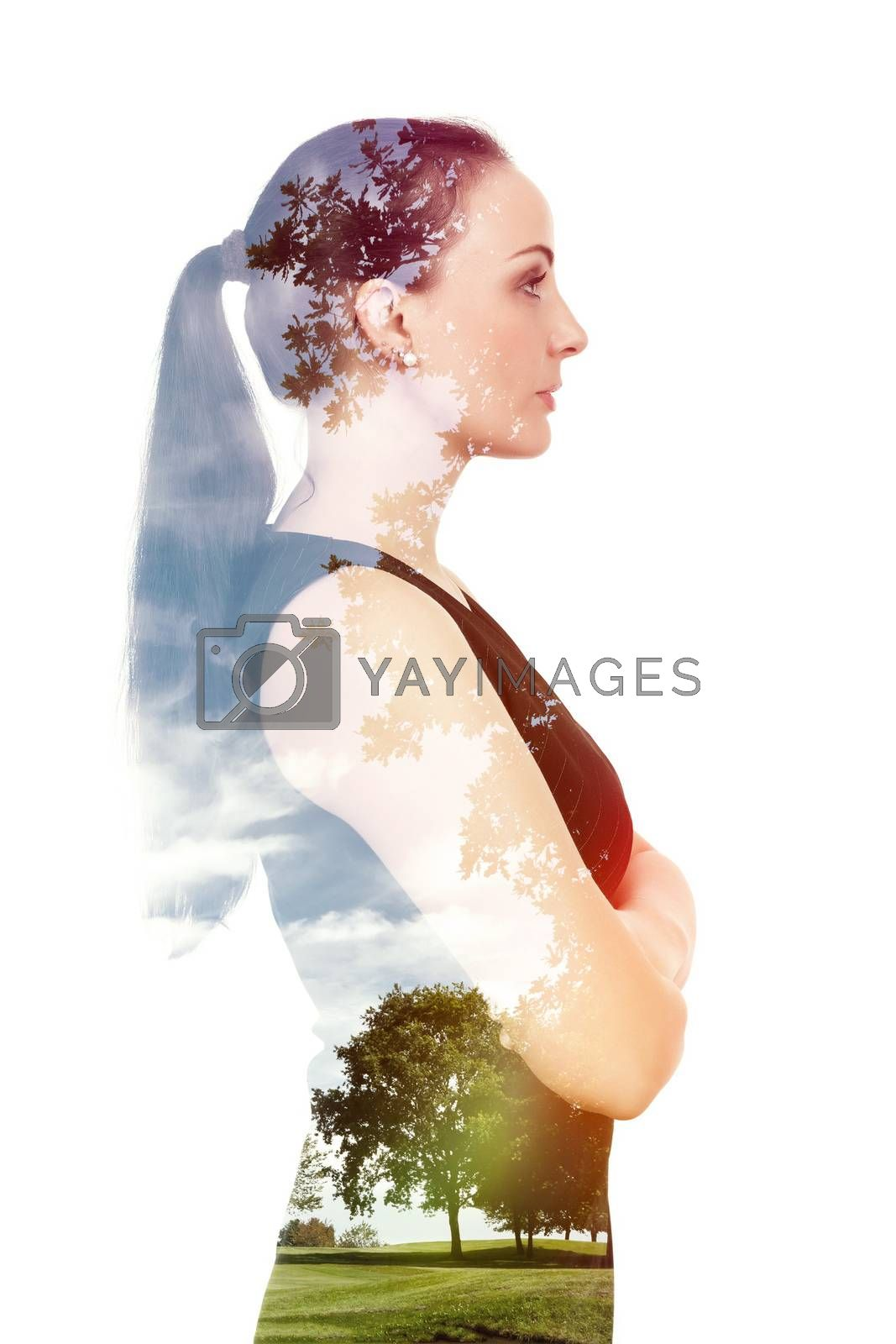 A beautiful woman double exposure with nature