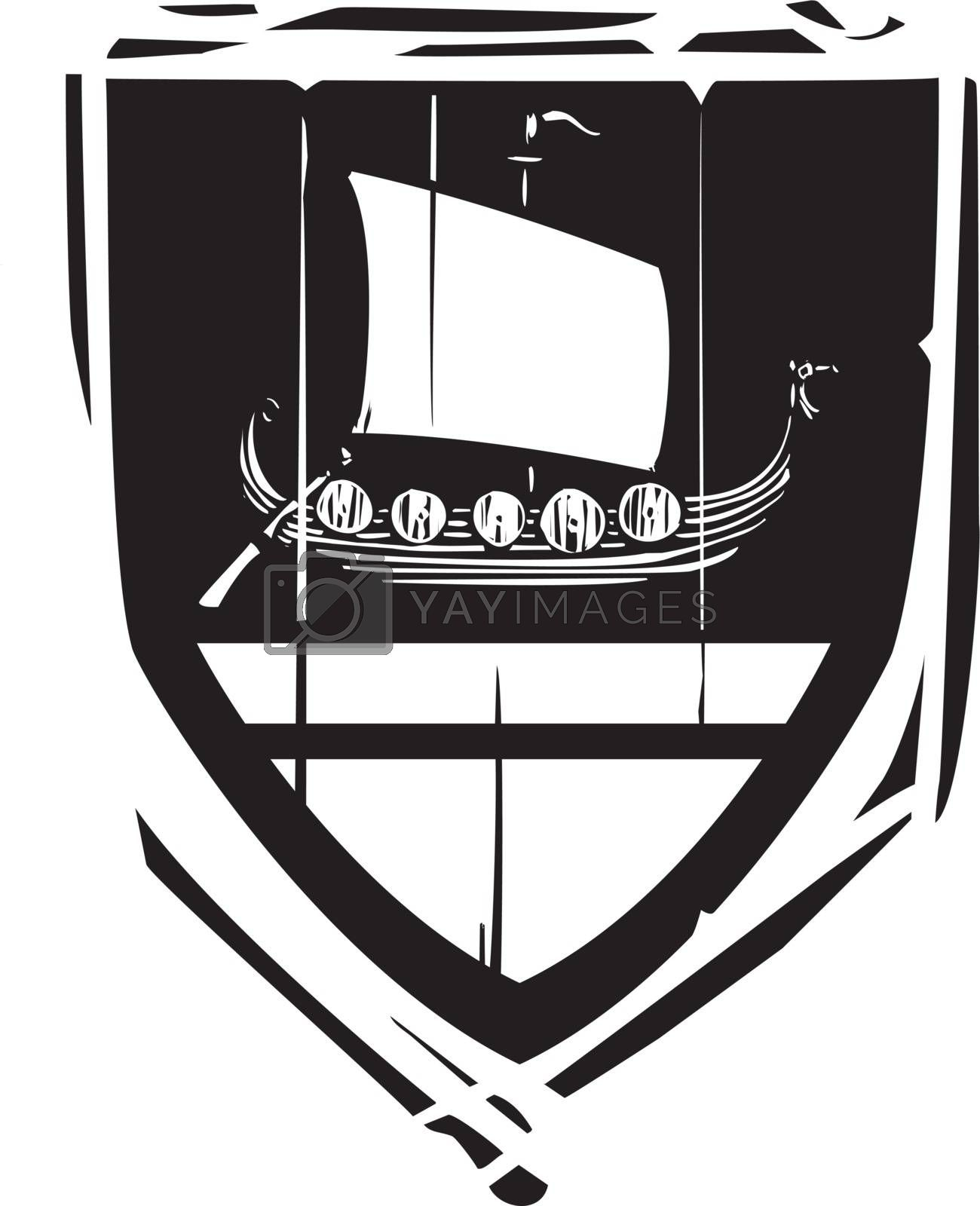 Woodcut style Heraldic Shield with a Viking Longship