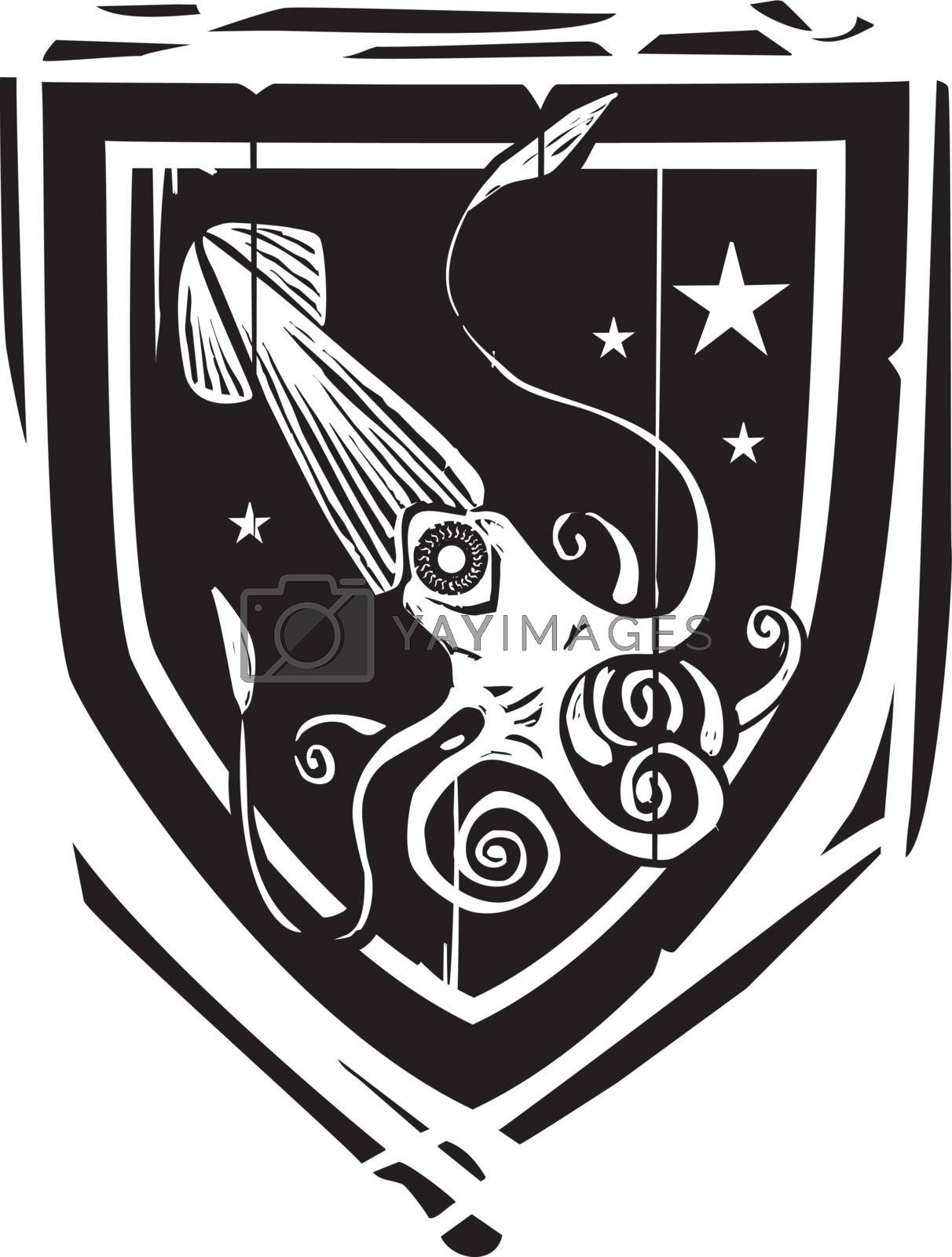 Woodcut style Heraldic Shield with a Squid or kraken