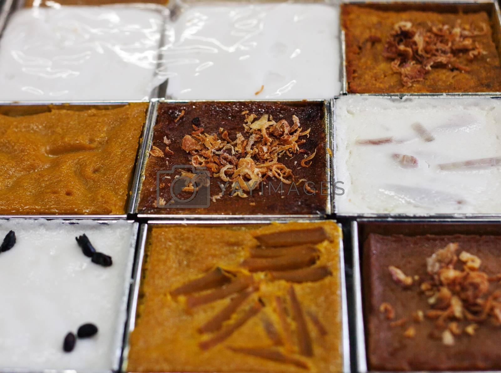 close up face of Thai dessert with coconut milk ingredient aluminum box