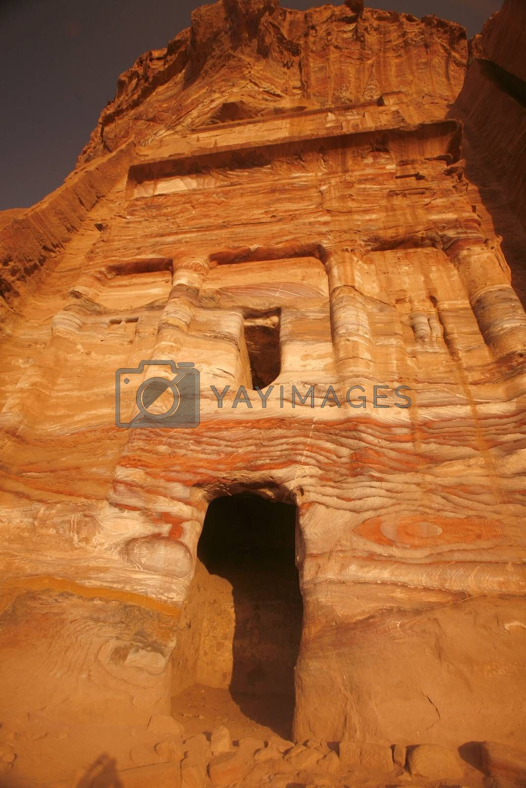 the Royal Tombs in the Temple city of Petra in Jordan in the middle east.
