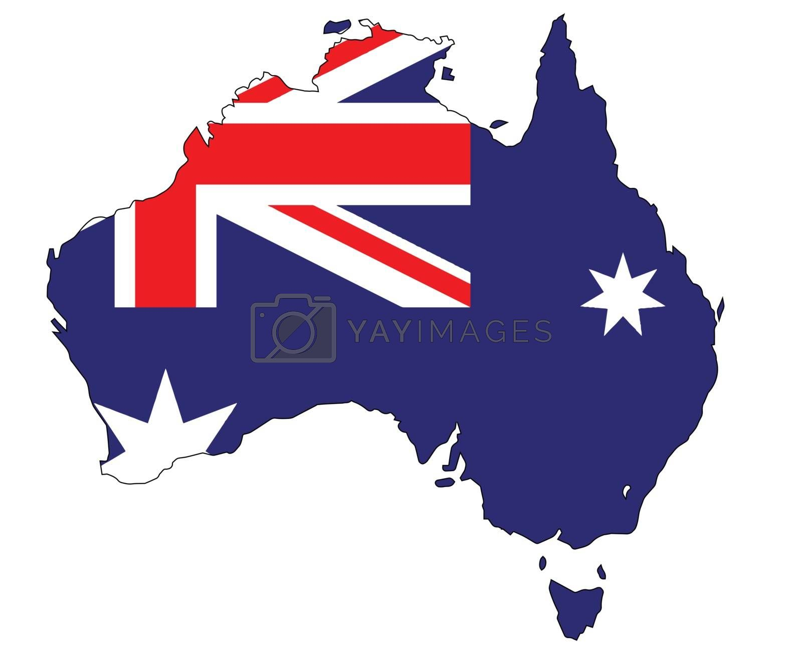 Outline map of Australia and national flag over a white background