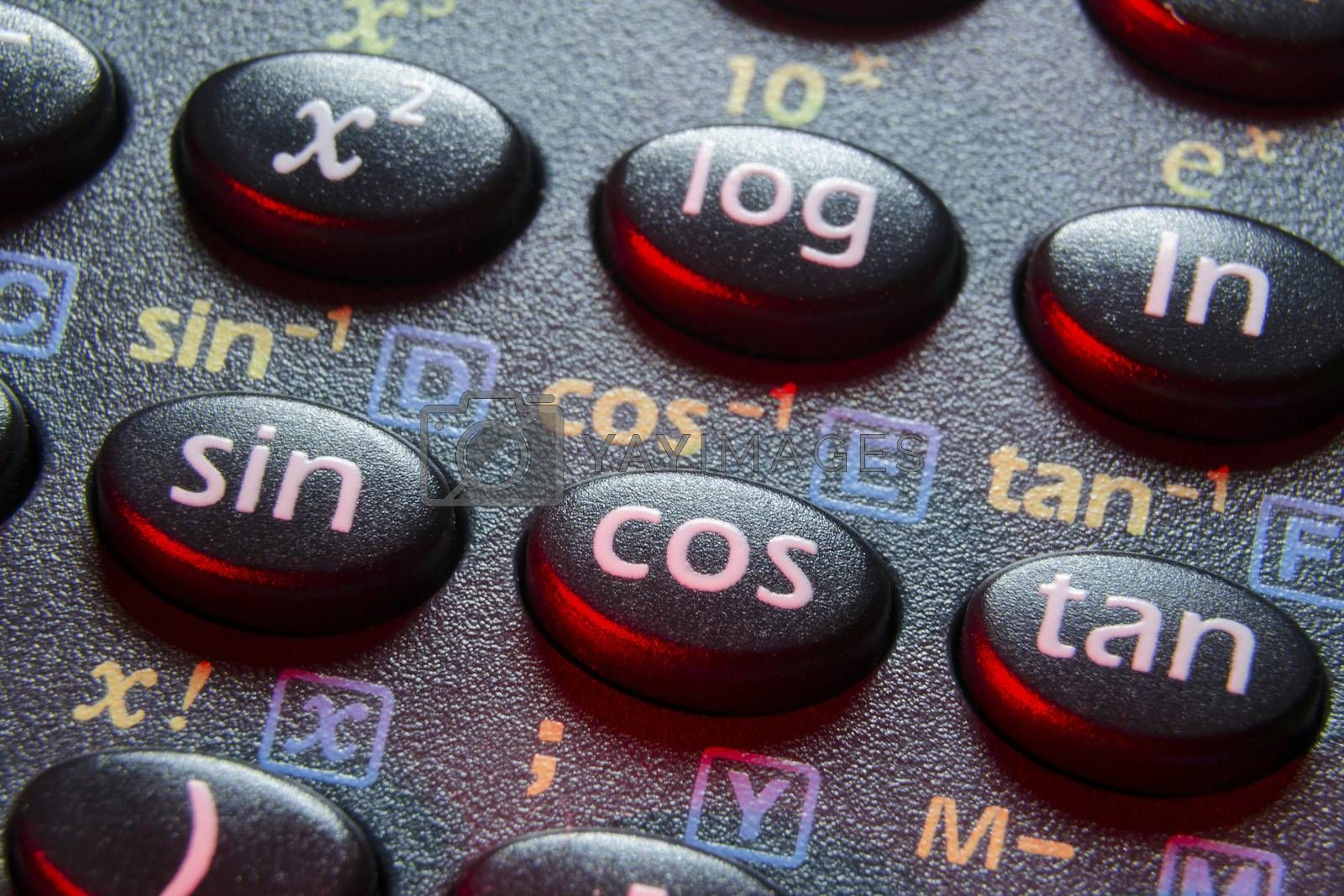 trigonometry functions push buttons of scientific calculator; focus on cos button