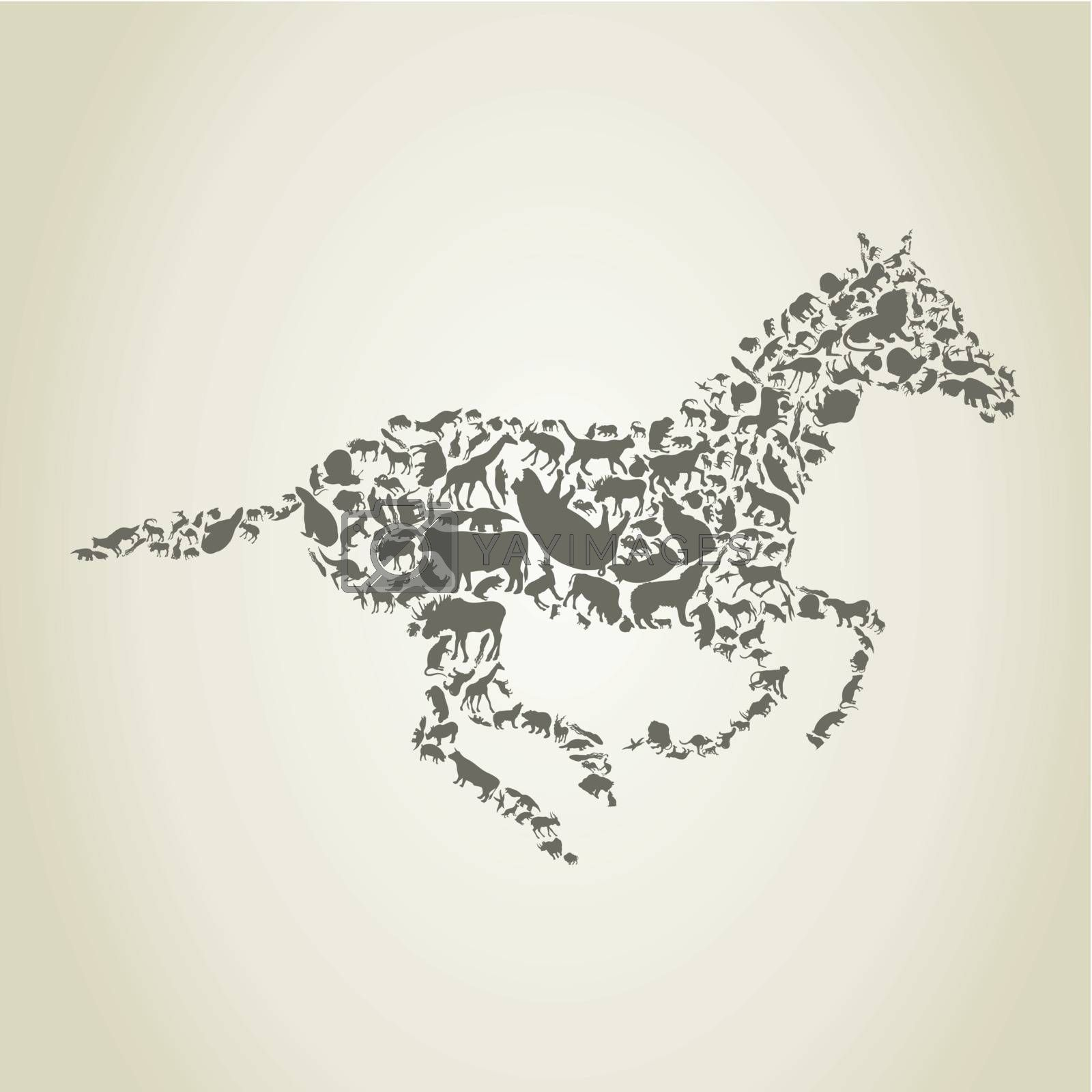 horse consists of animals on a gray background