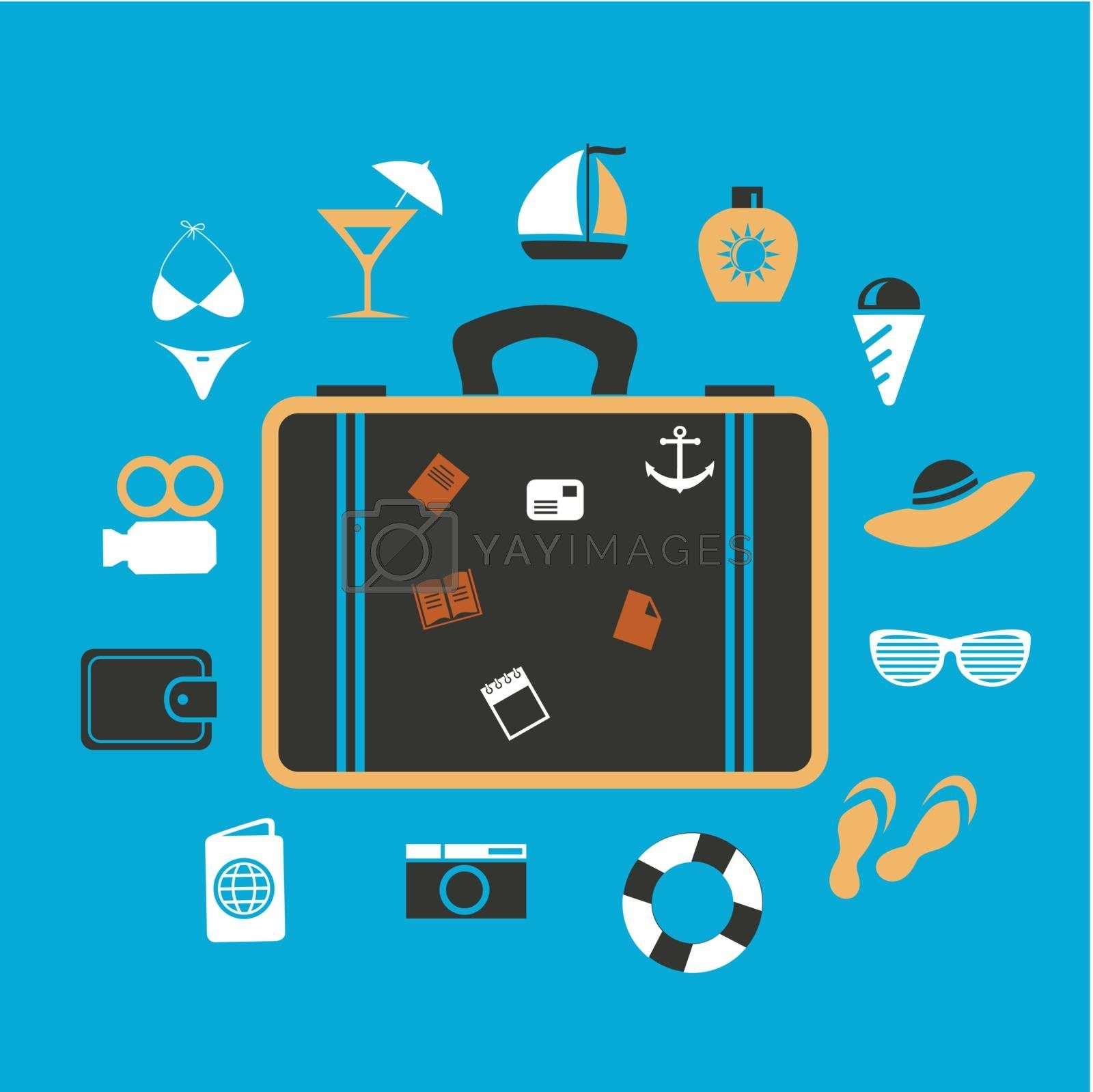 suitcase around the items to travel