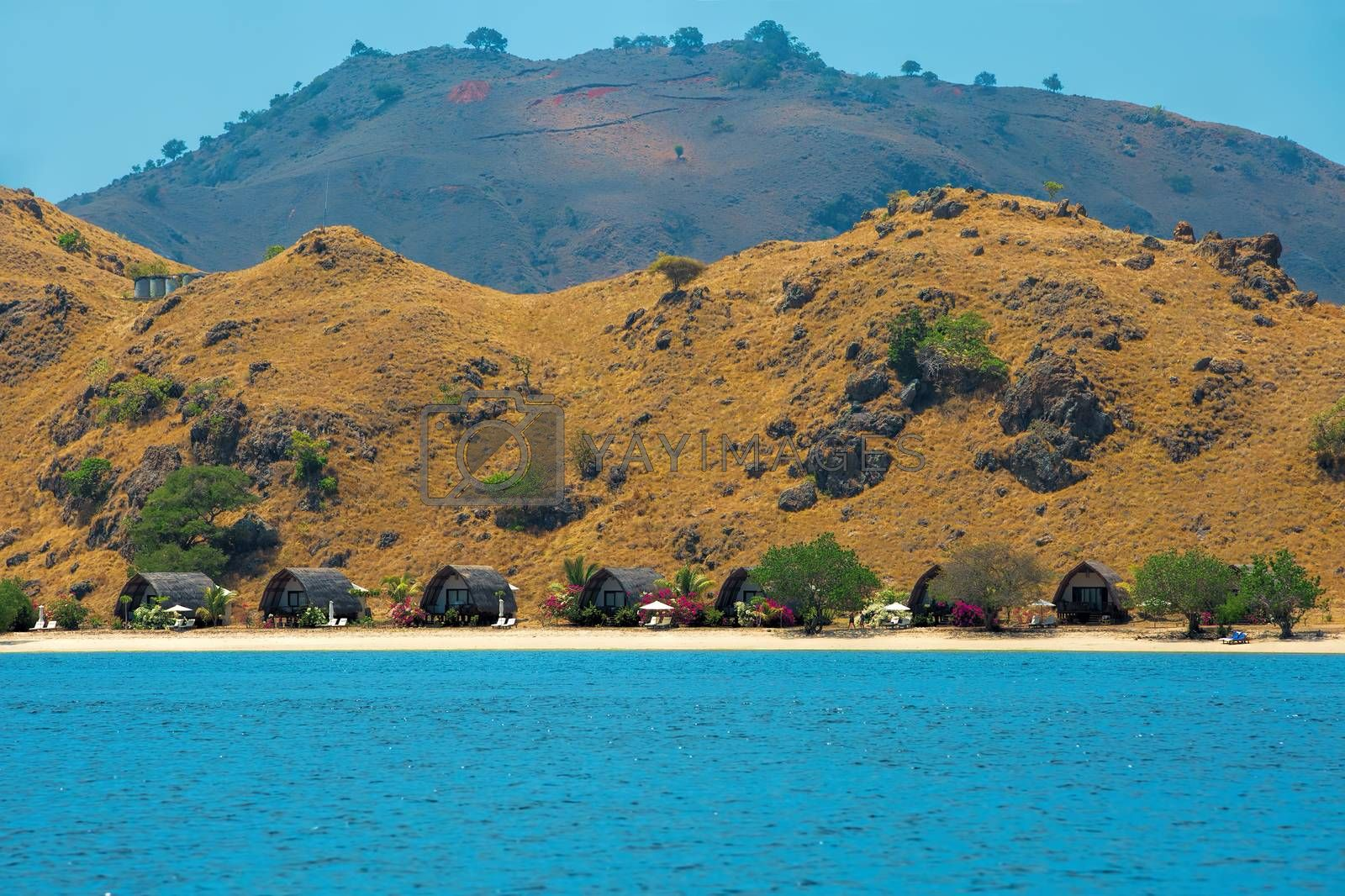 Bungalows on the beach in Komodo national park