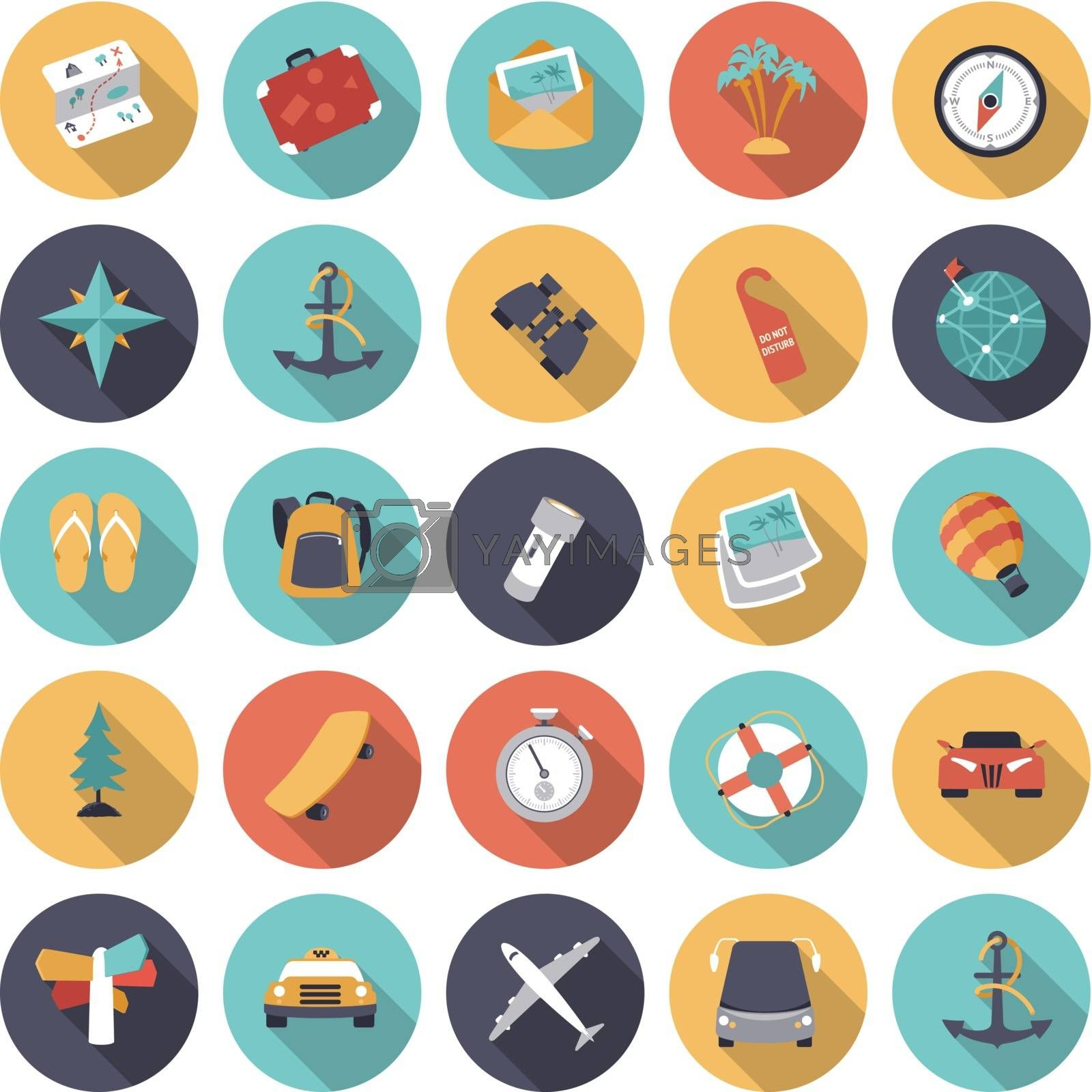 Flat design icons for travel and transportation. Vector eps10 with transparency.