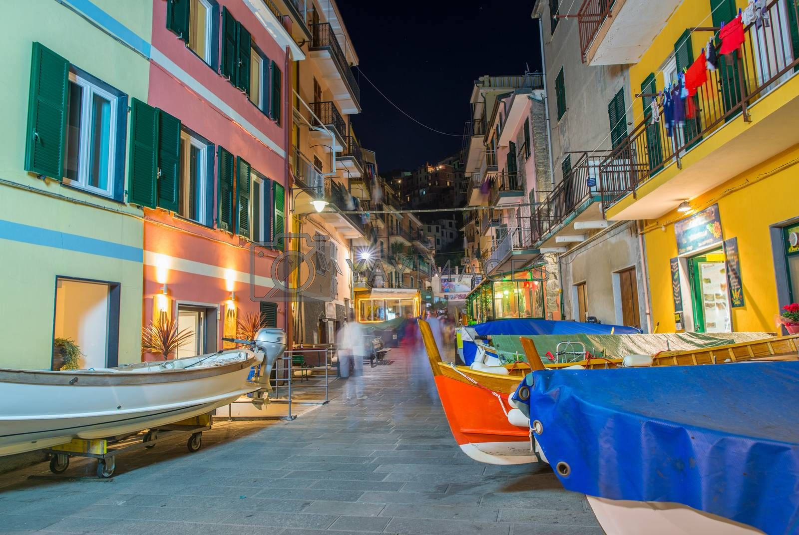 Boats parked in the middle of Manarola Town, Cinque Terre by jovannig