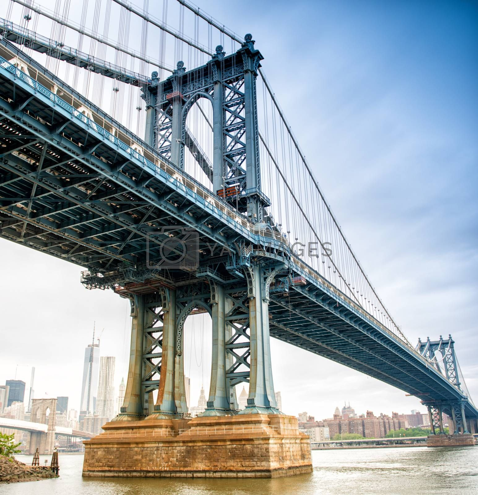 View of Manhattan Bridge on a overcast spring day - New York Cit by jovannig