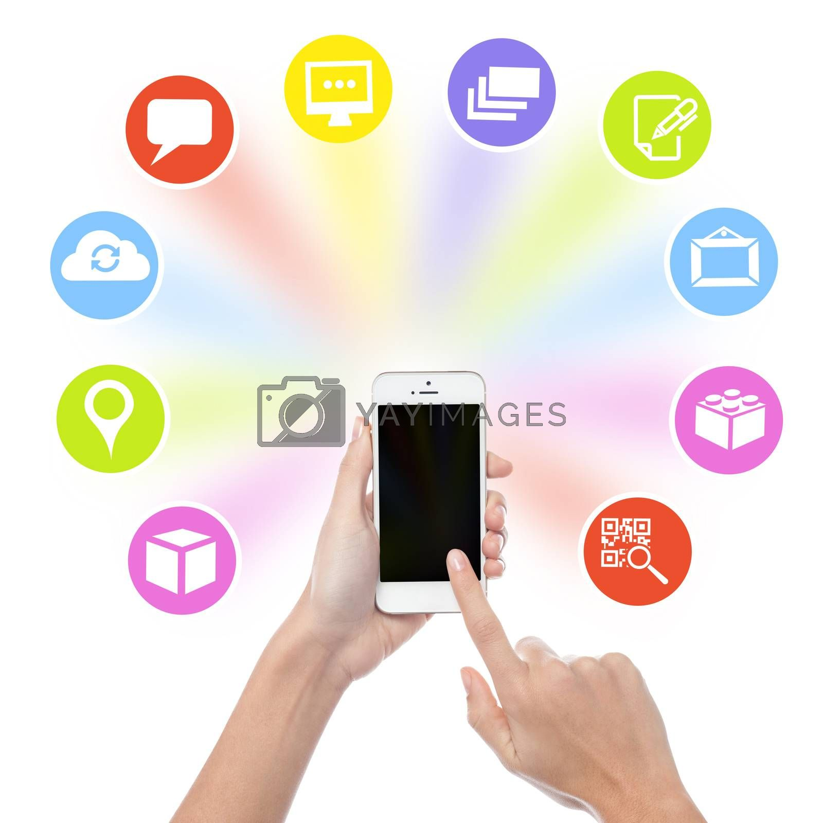 Hand using mobile phone with colorful application icons