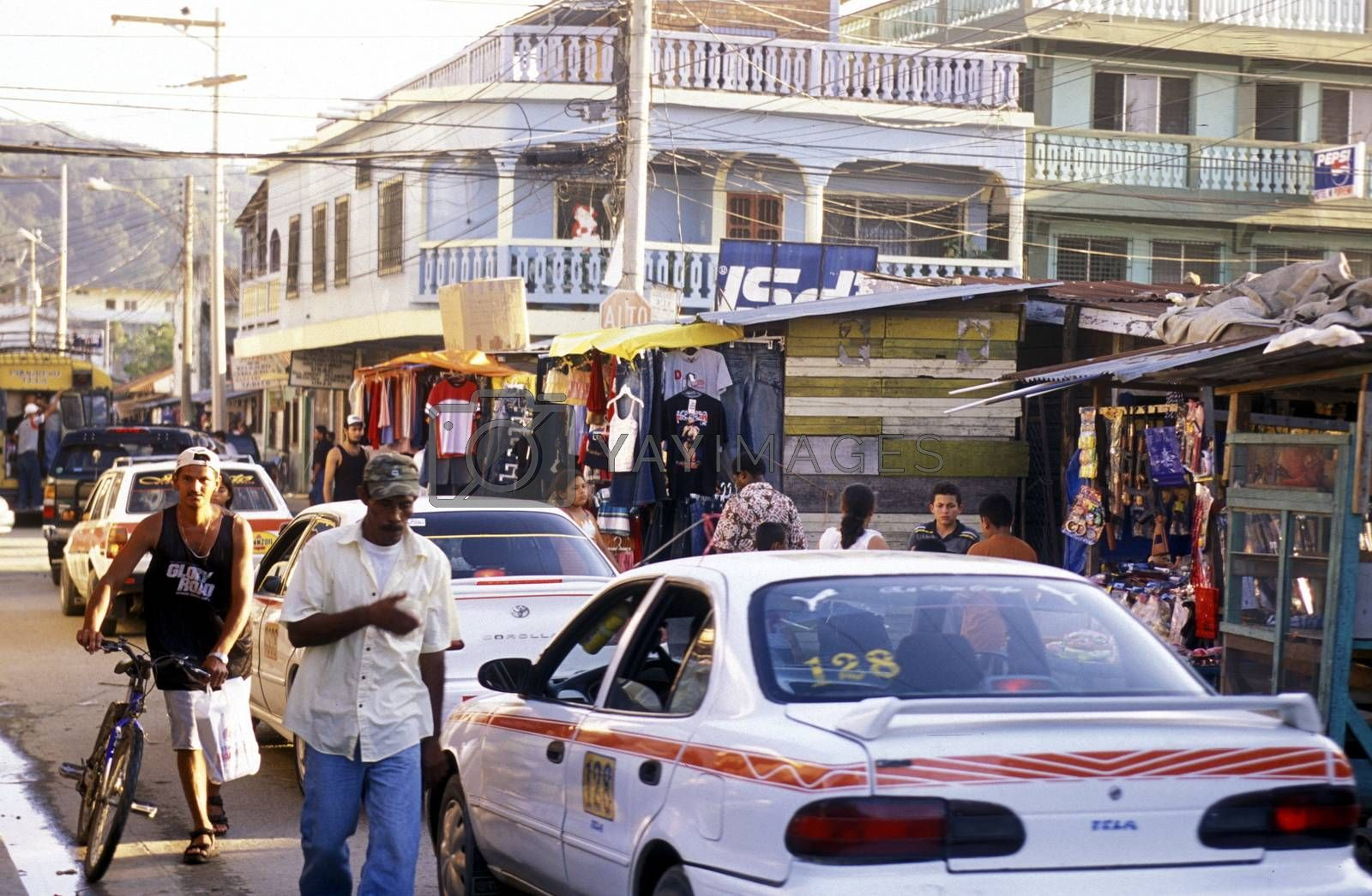the city of Tela near San Pedro Sula on the caribian sea in Honduras in Central America,