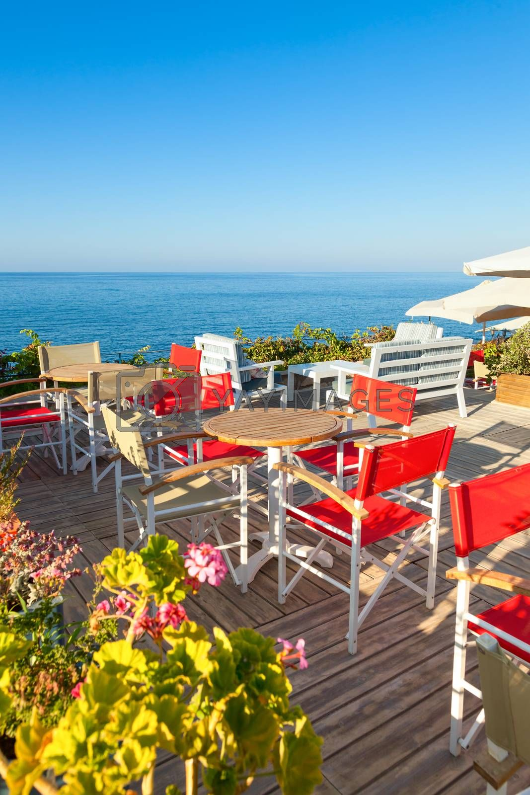 Open-air greek cafe  terrace overlooking the sea