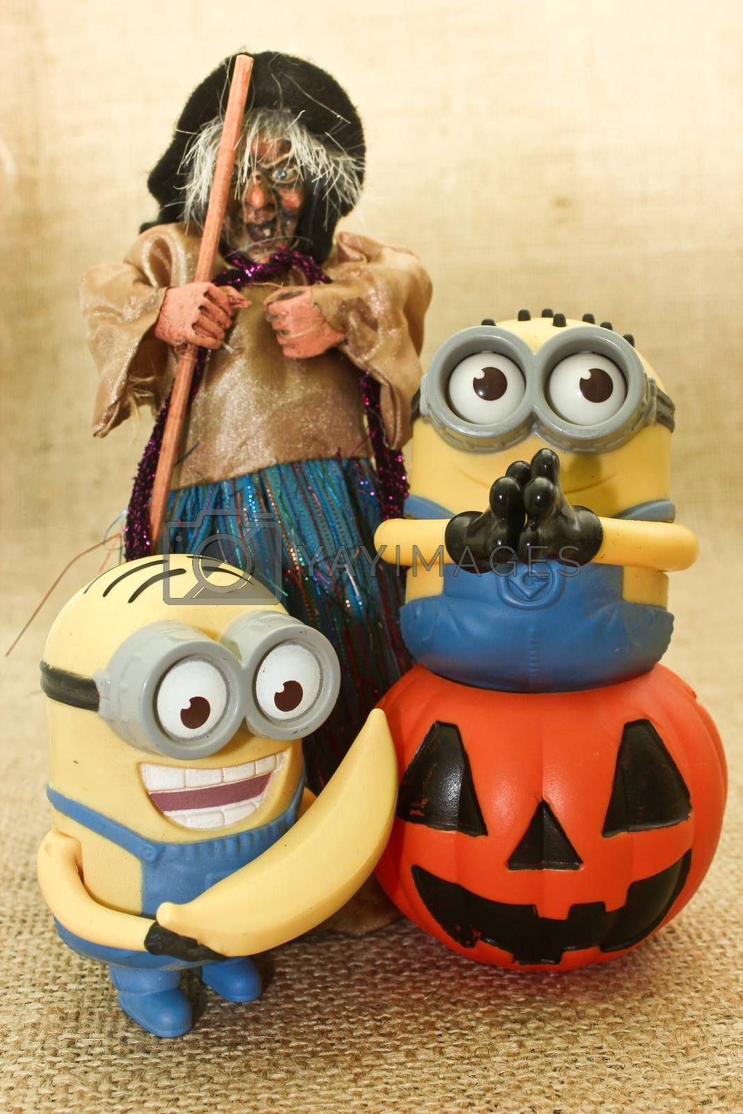 Halloween Minions Playing with Jack the Lantern Pumpkin & Ugly Witches, trick or treat