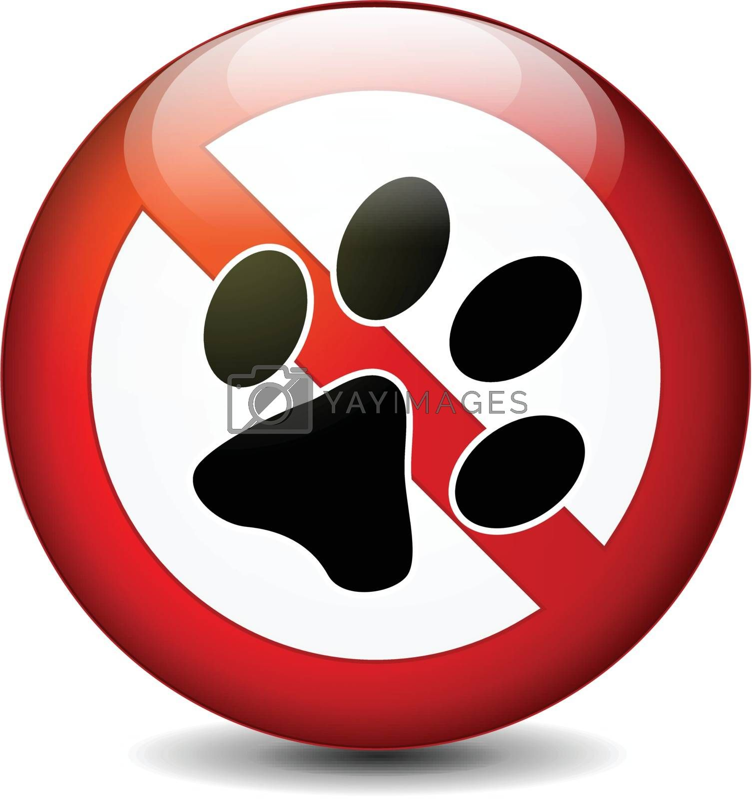 Illustration of no pets round sign on white background