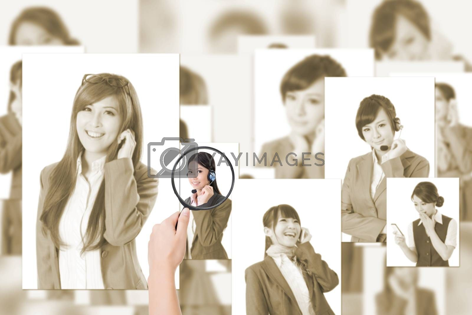 Concept of human resources, choose the right person from the people screen wall.