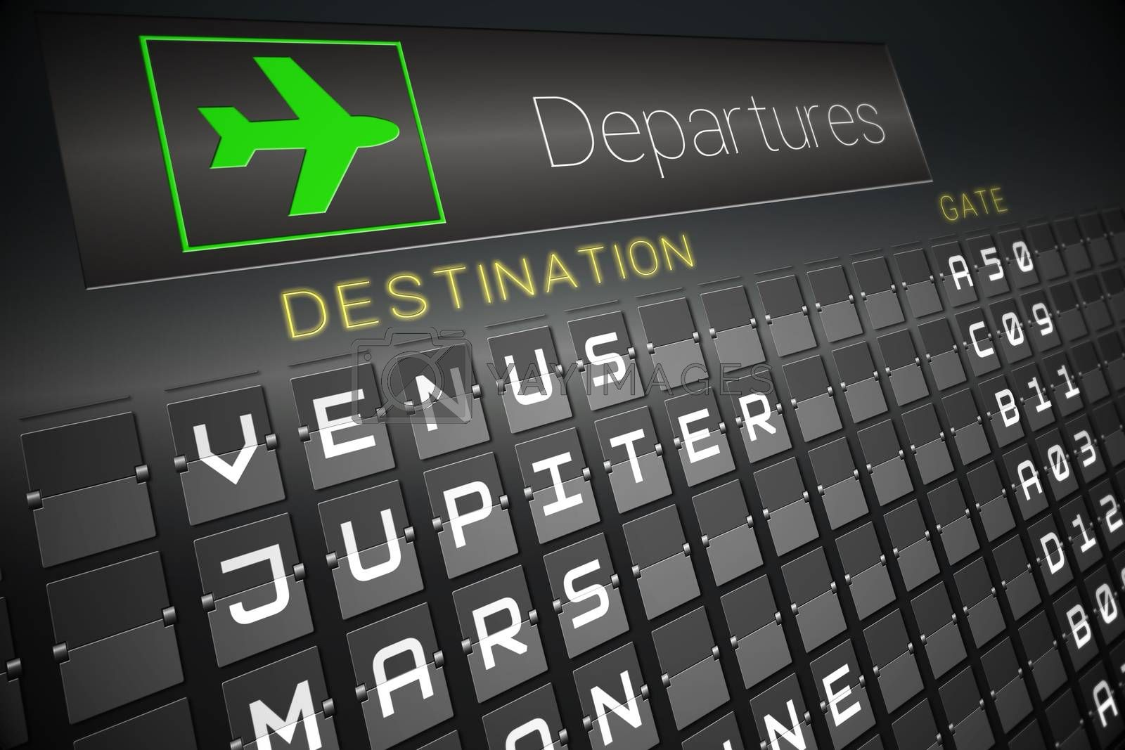 Digitally generated departures board for space travel