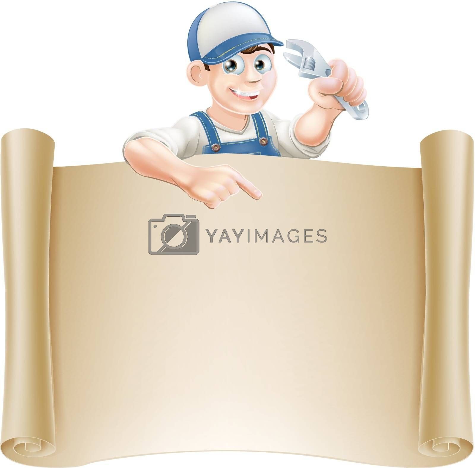 A plumber or mechanic holding an adjustable spanner or wrench and peeking over a scroll banner and pointing
