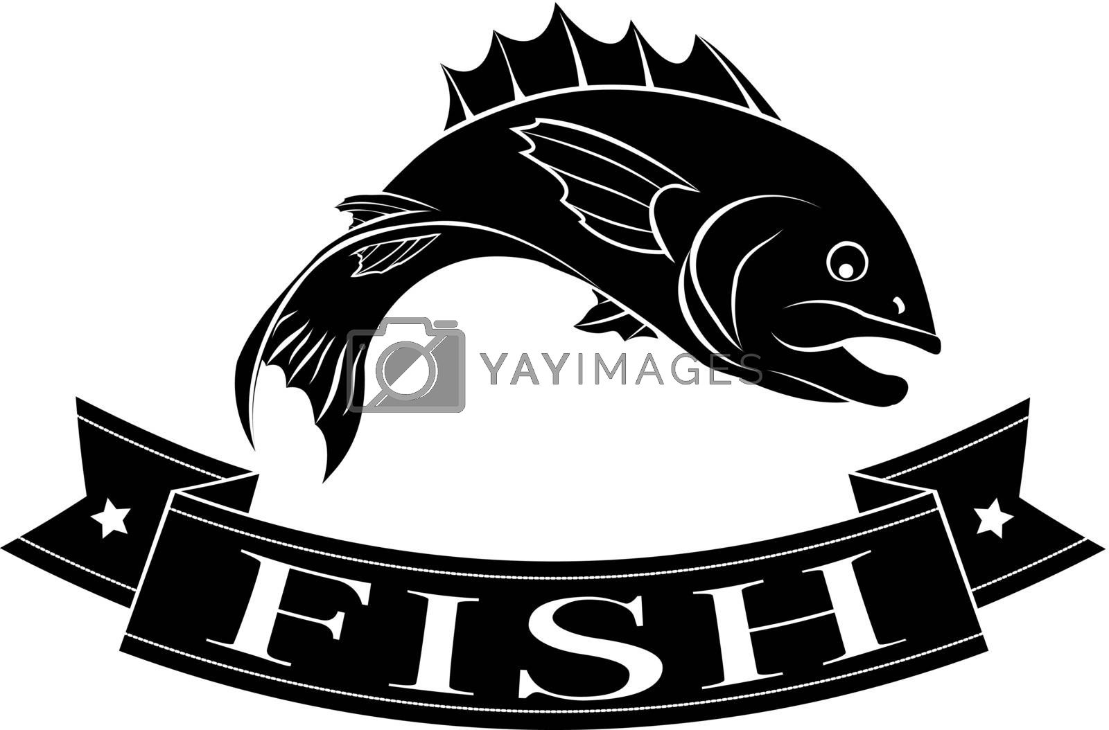 Fish or seafood food or menu label icon of a fish and banner reading fish