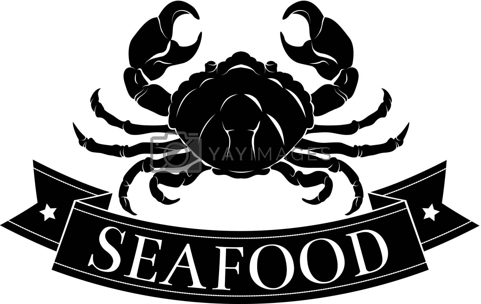 Crab or seafood food icon of a crab and banner reading seafood