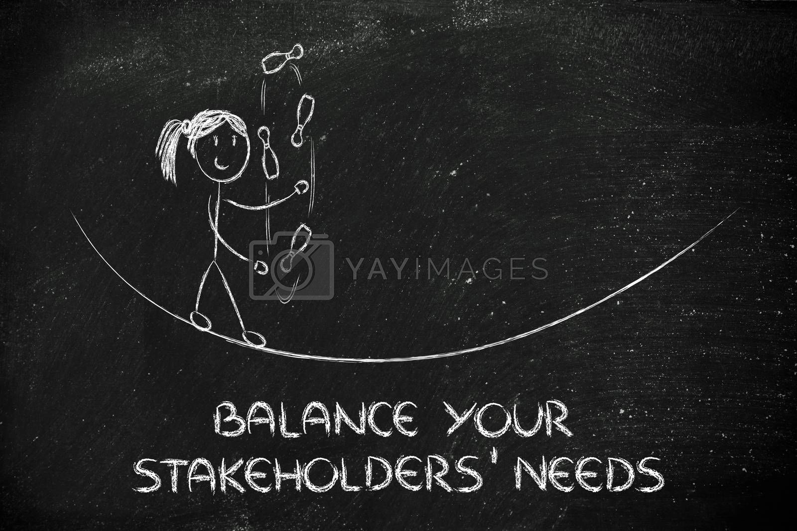 concept of dealing with stakeholders' needs: funny girl juggling