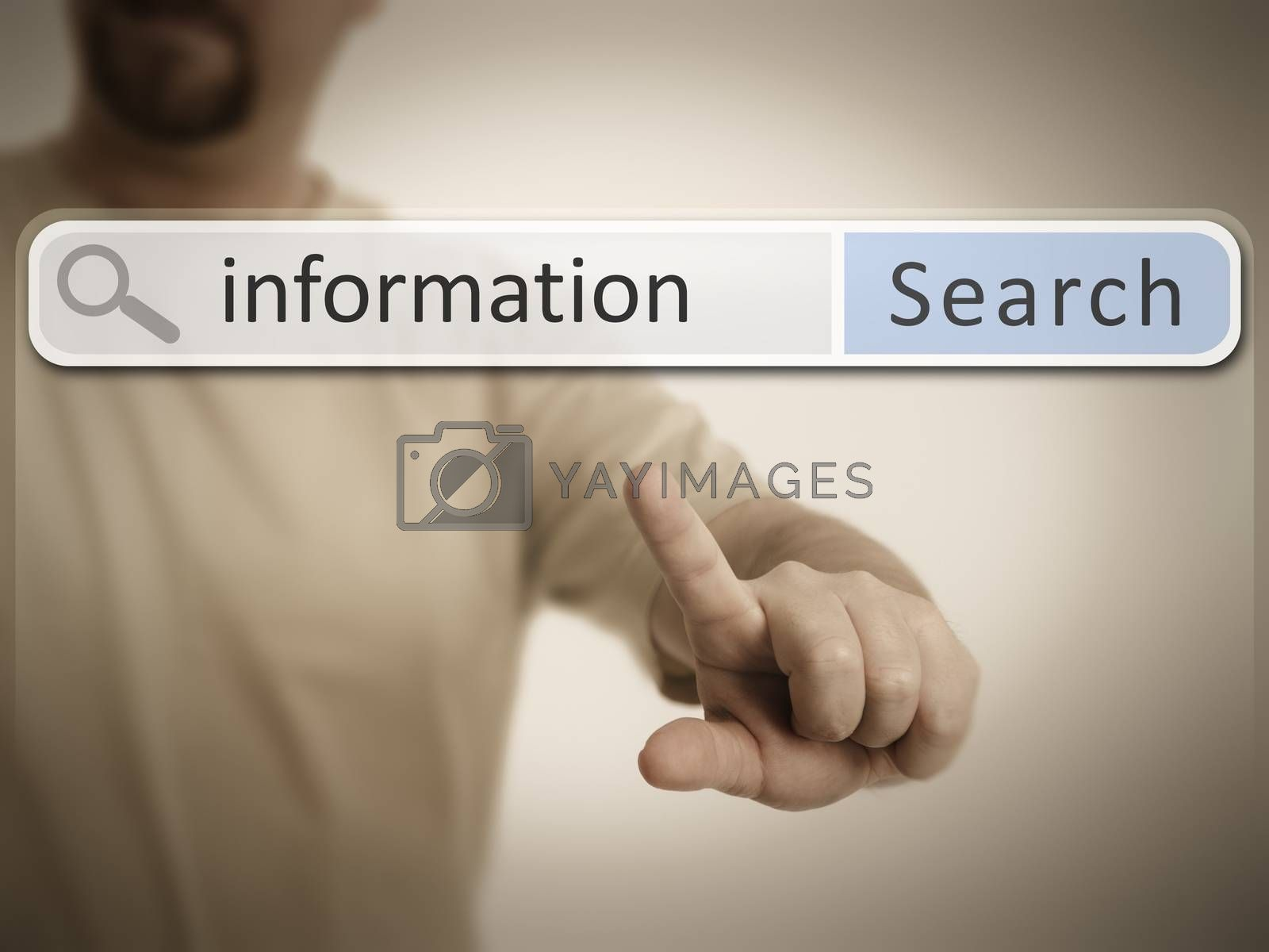 An image of a man who is searching the web after information