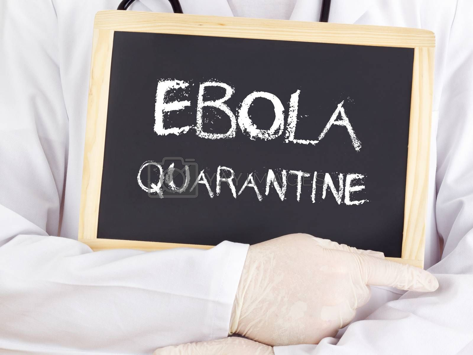 Doctor shows information: Ebola quarantine