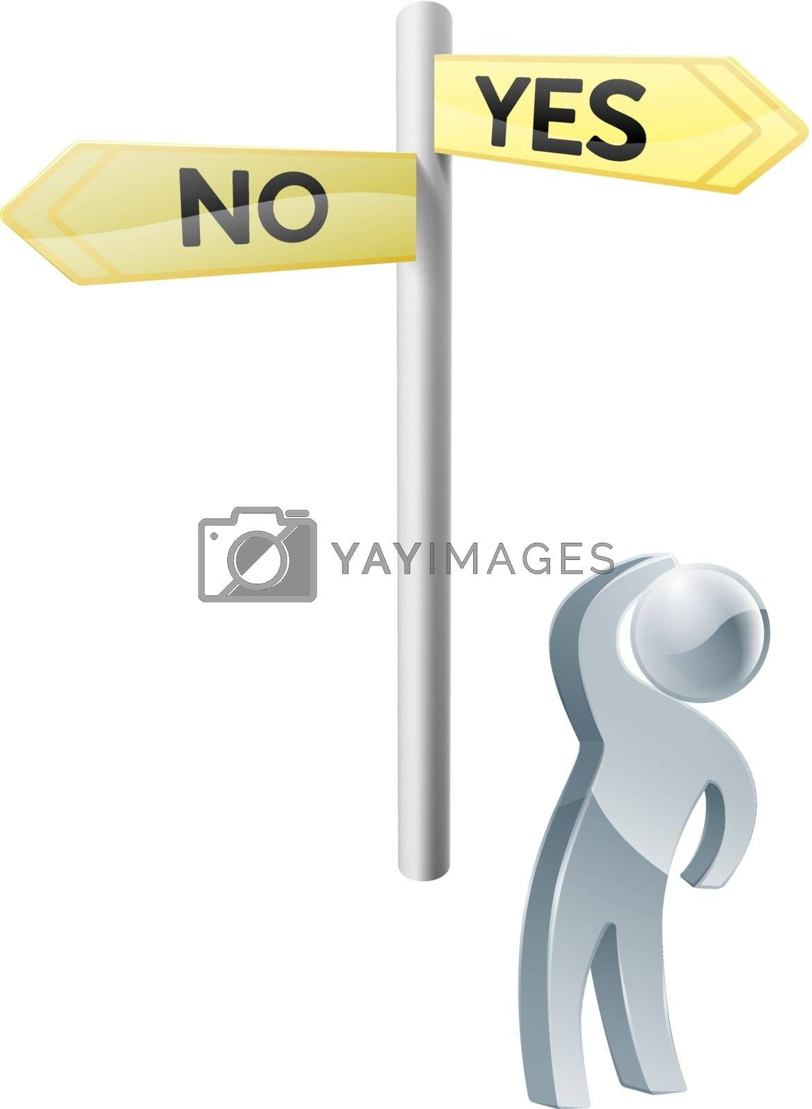 Conceptual illustration of a man looking up at a road sign post reading yes and no