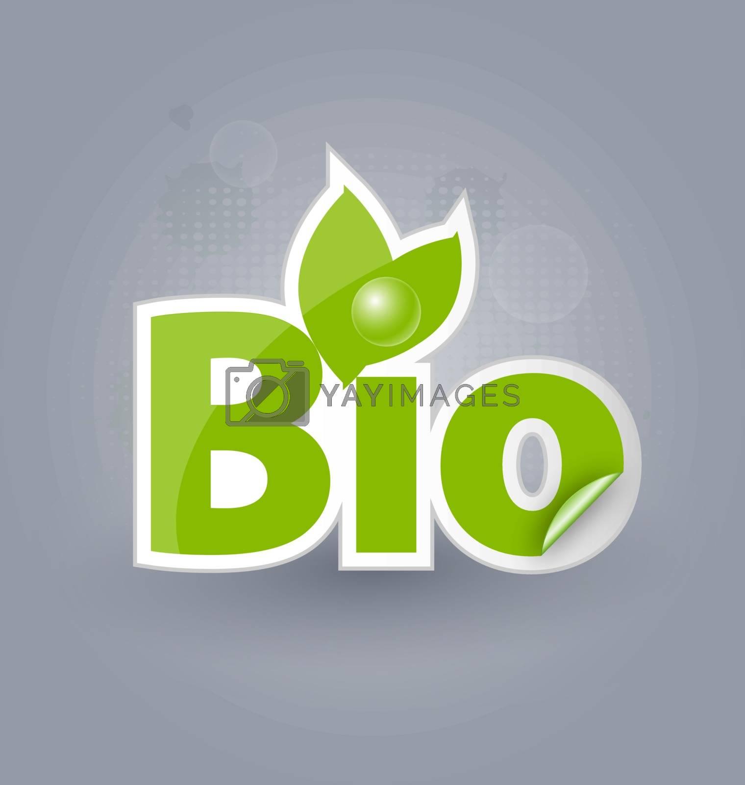 Bio background with selfadhesive bio sticker for creative design