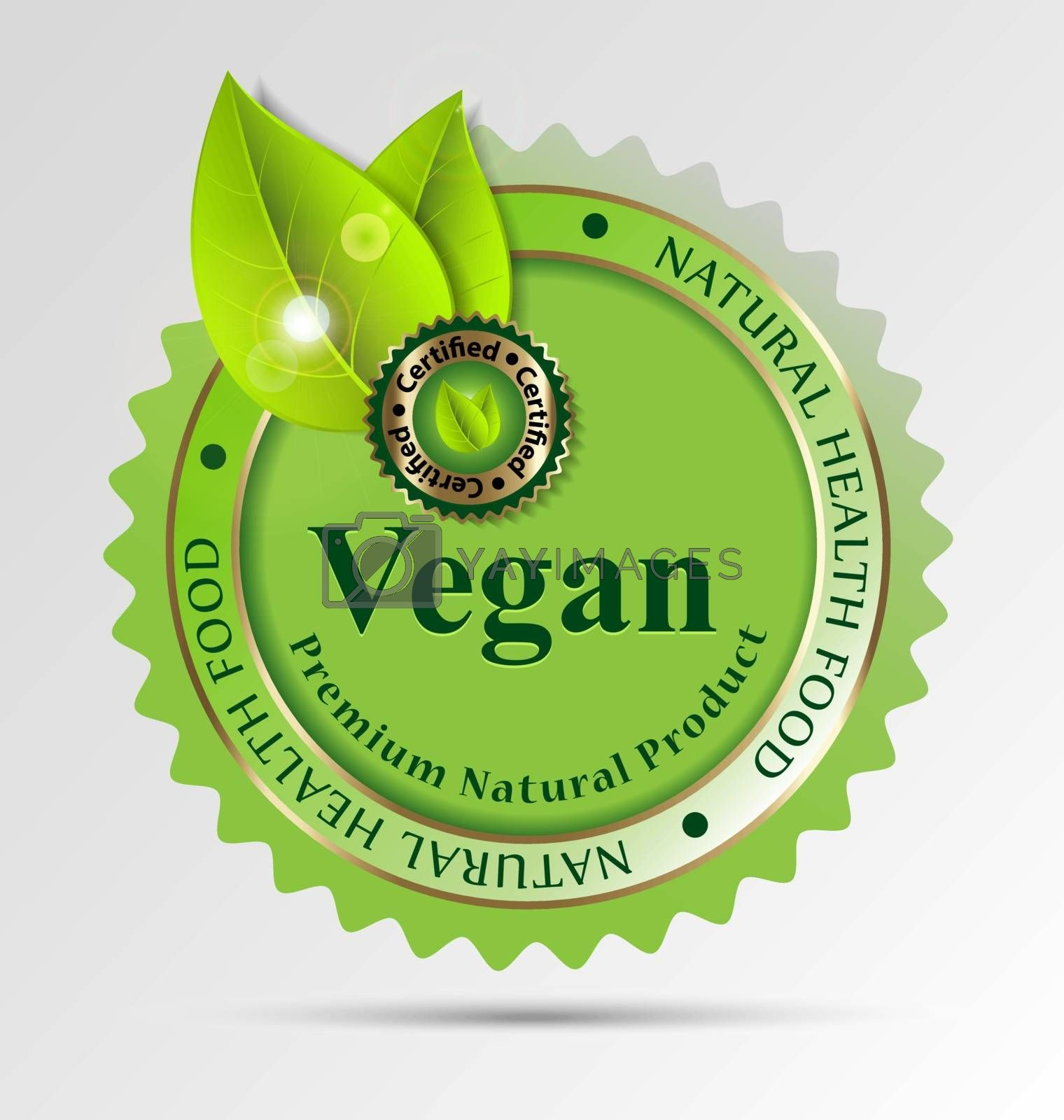 Creative label for vegan-related foods/drinks for design taks