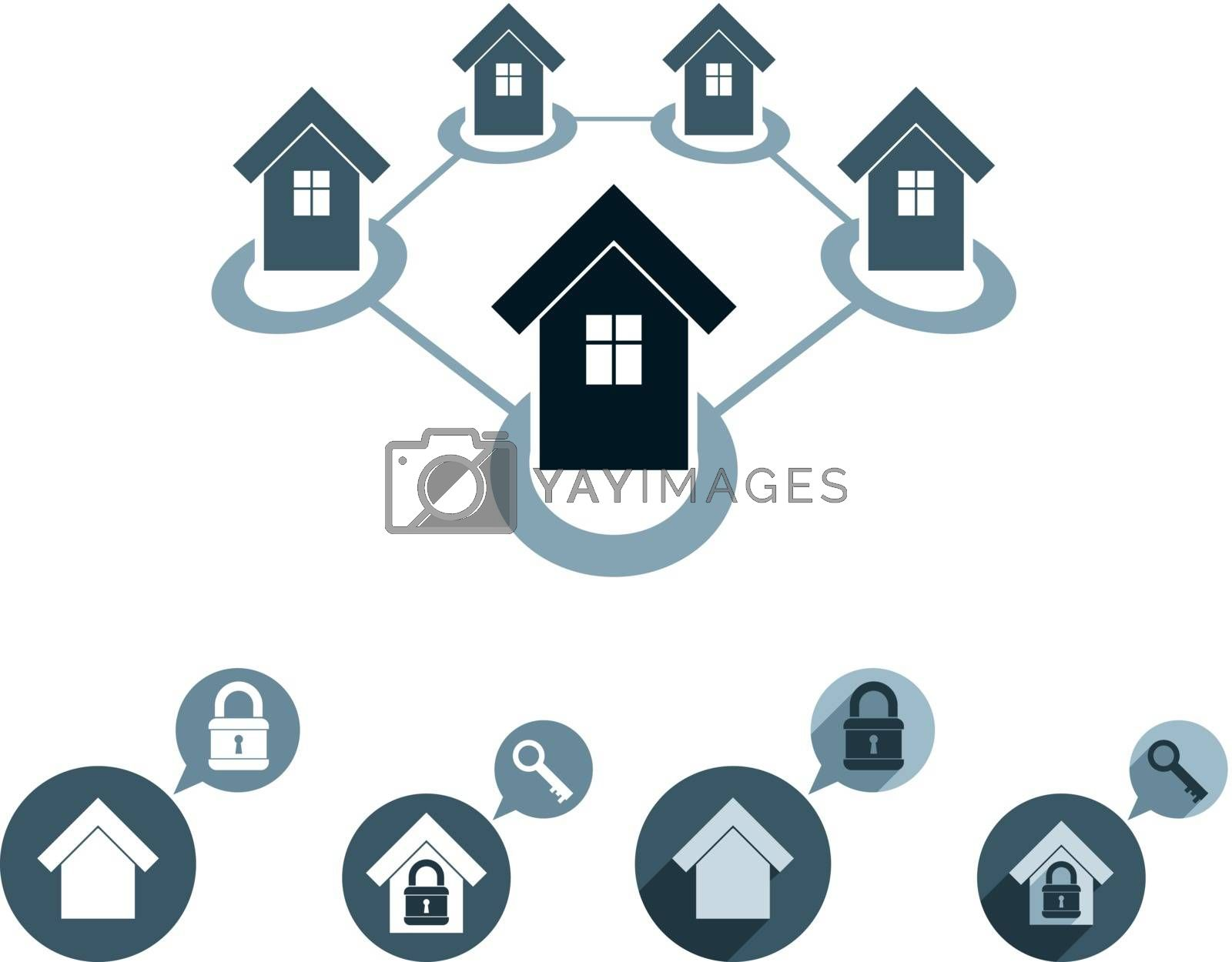 Real estate vector icons set, realty theme vector symbols collection.