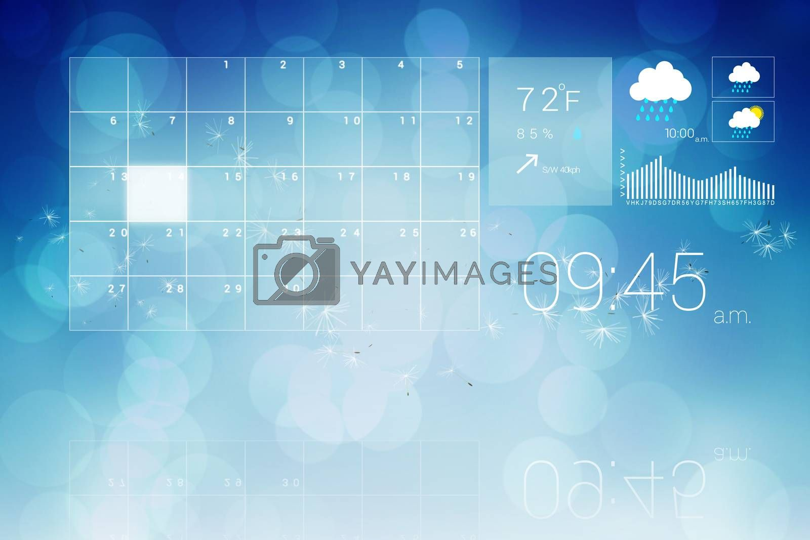 Digitally generated interface with time weather and calender