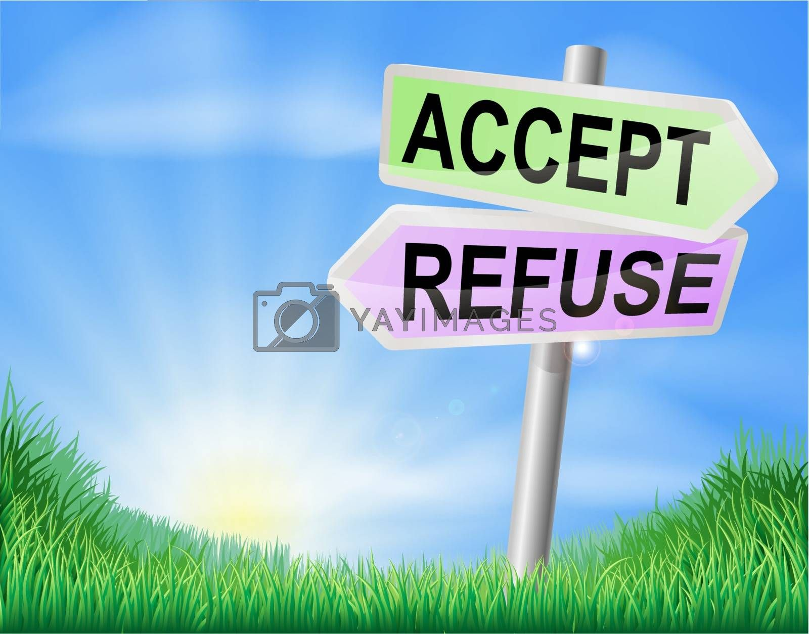 Accept or refuse sign concept with a choice to make