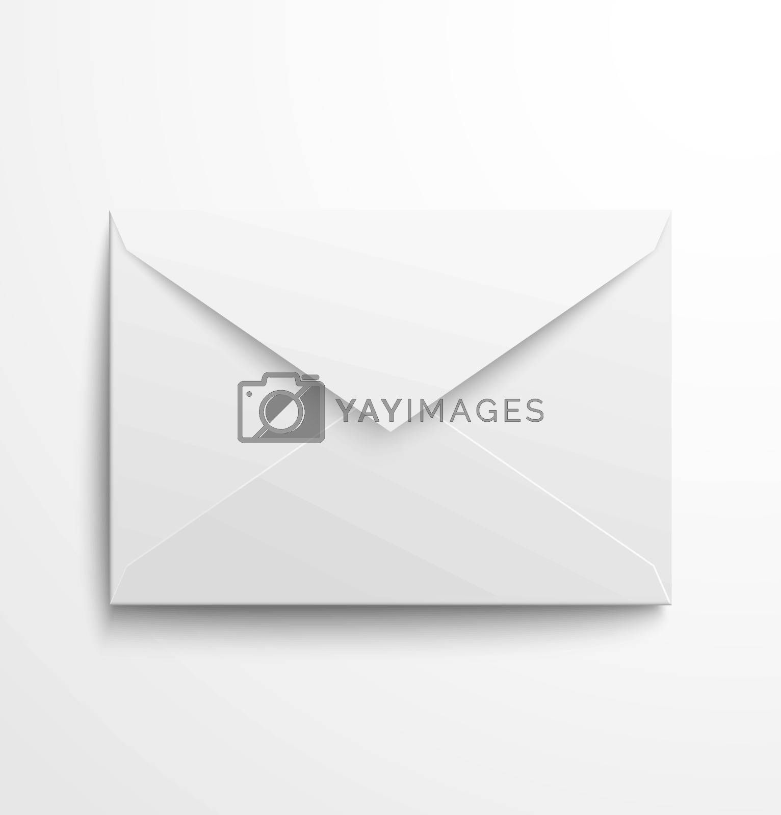 Blank white envelope with shadow. Vector illustration