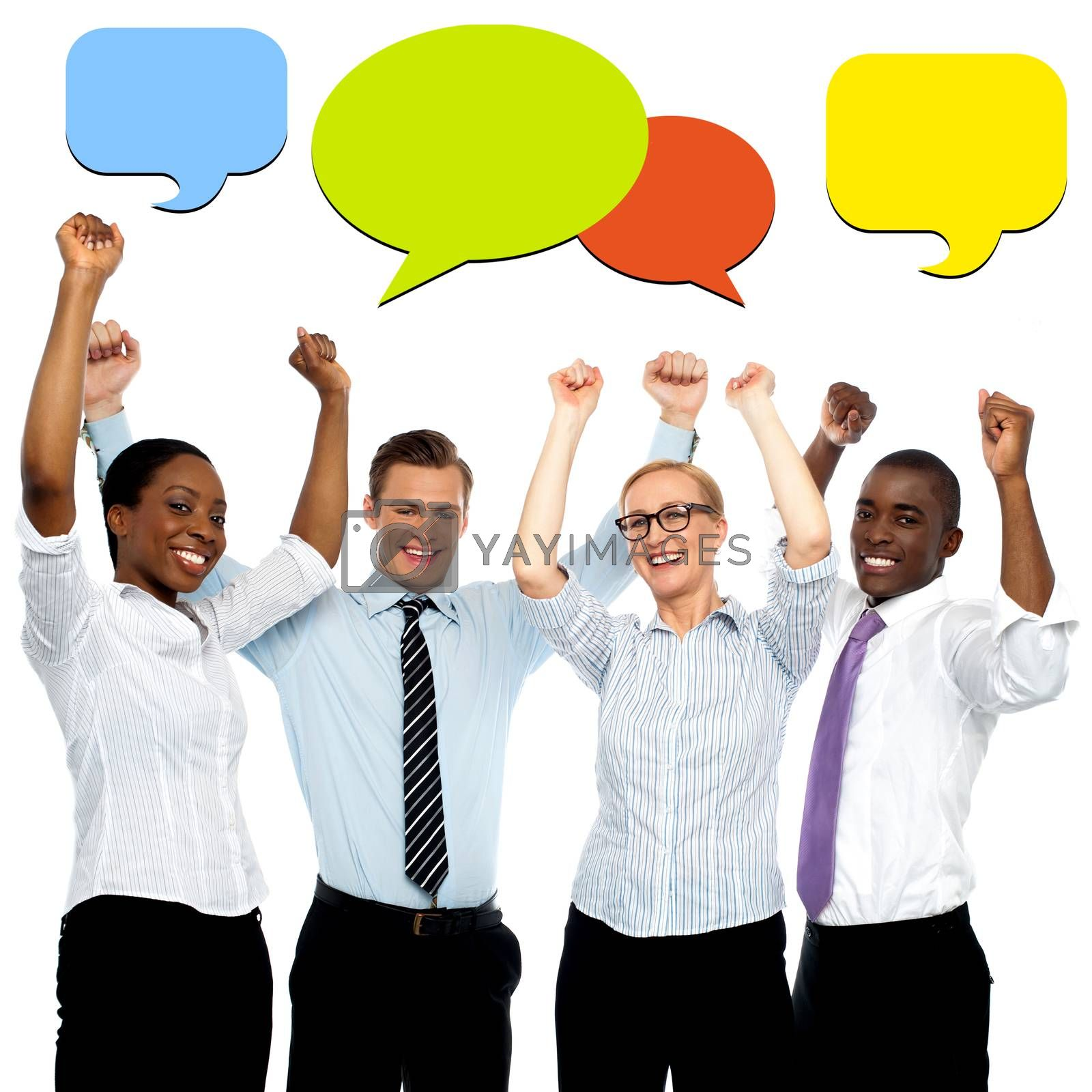Successful business people with colorful speech bubbles