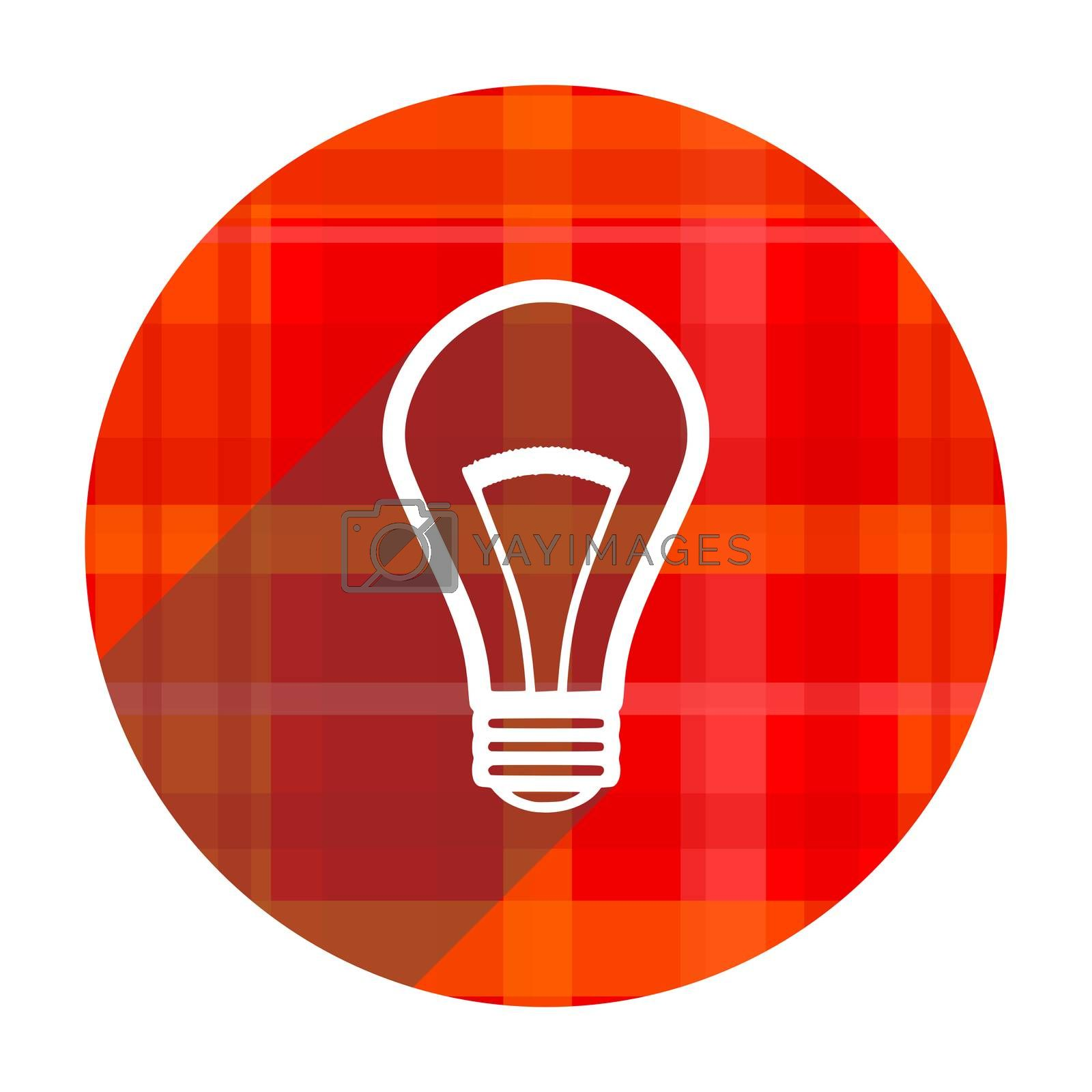 bulb red flat icon isolated