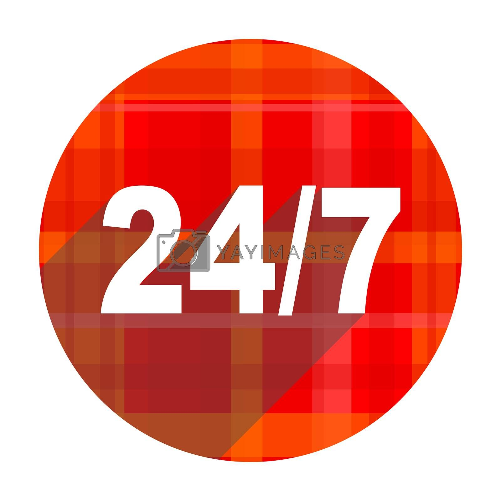 24/7 red flat icon isolated