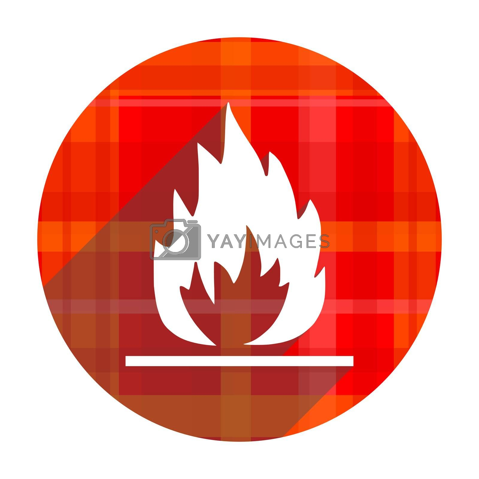 flame red flat icon isolated