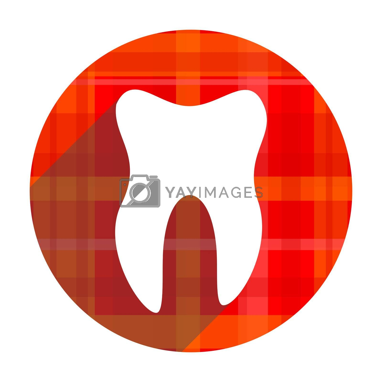 tooth red flat icon isolated