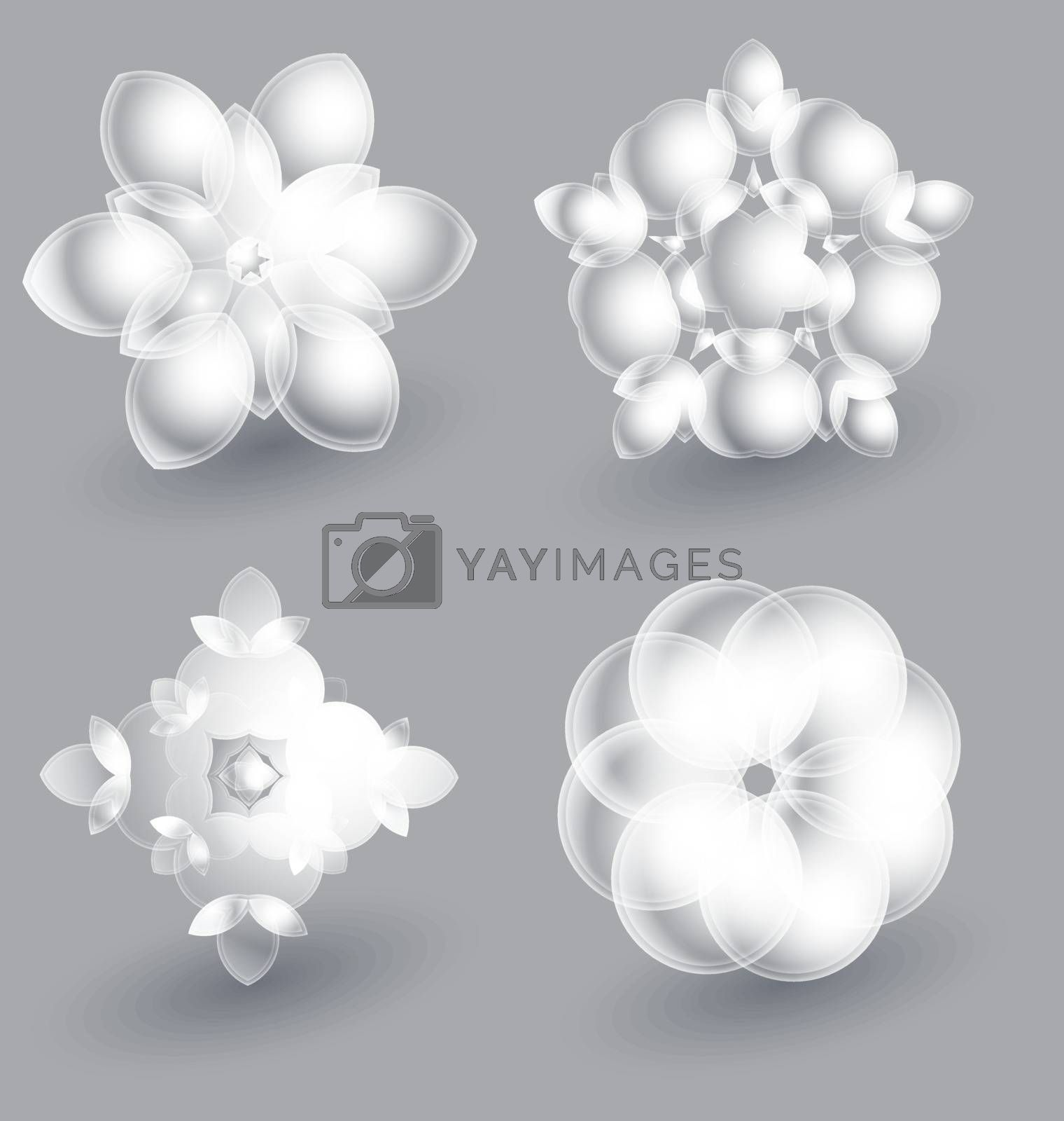 Beautiful ice flowers collection for creative design