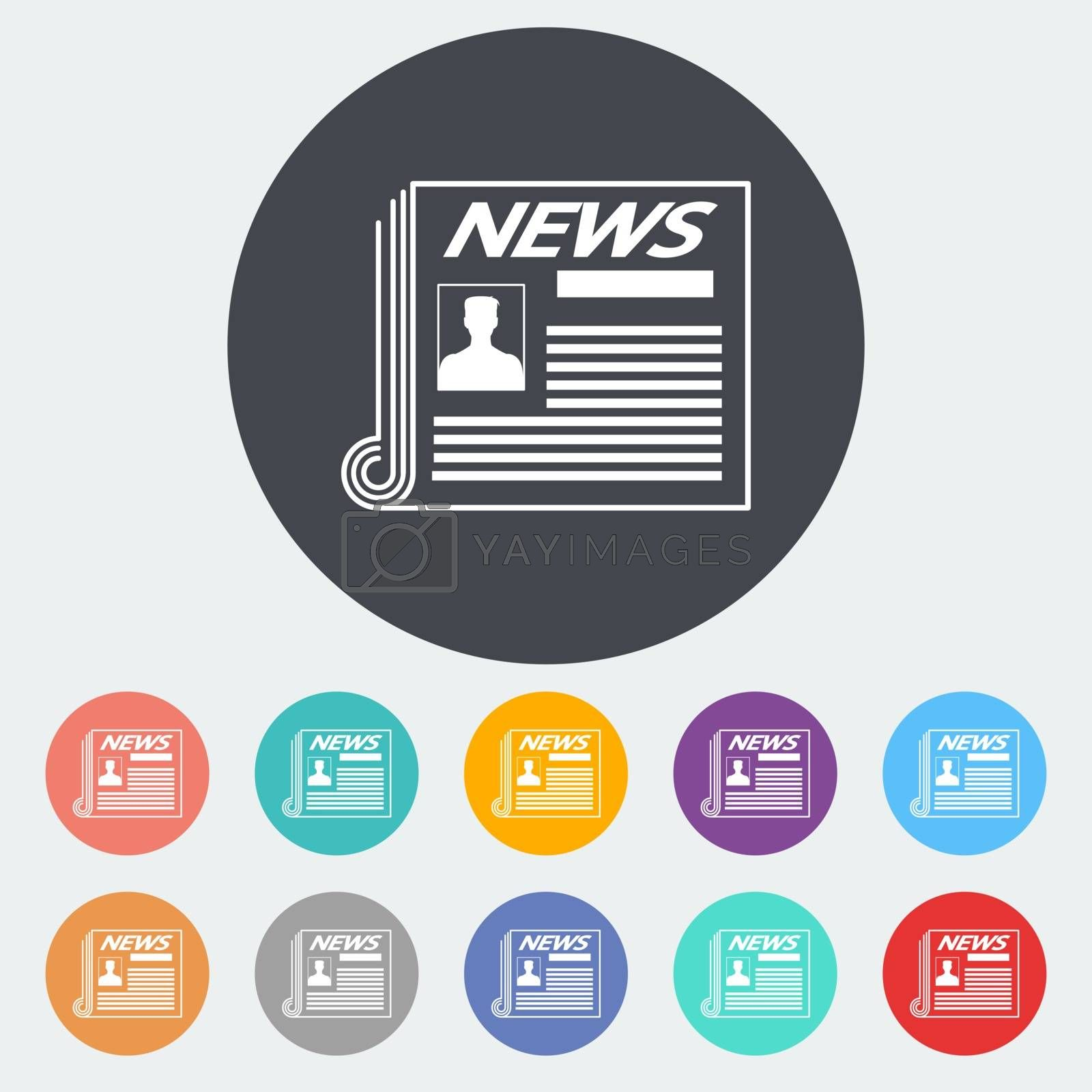Newspaper. Single flat icon on the circle. Vector illustration.