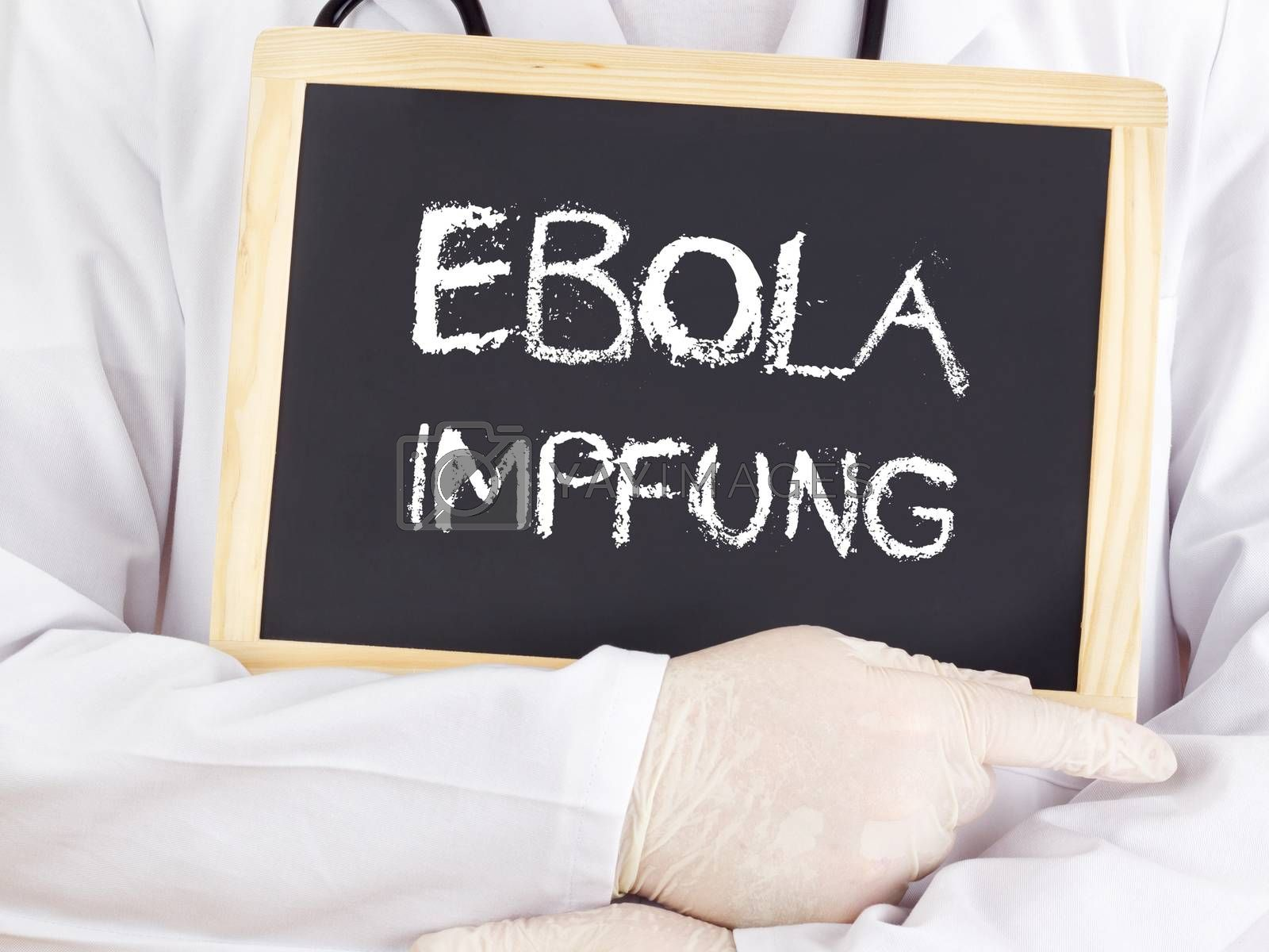 Doctor shows information: Ebola immunization in german