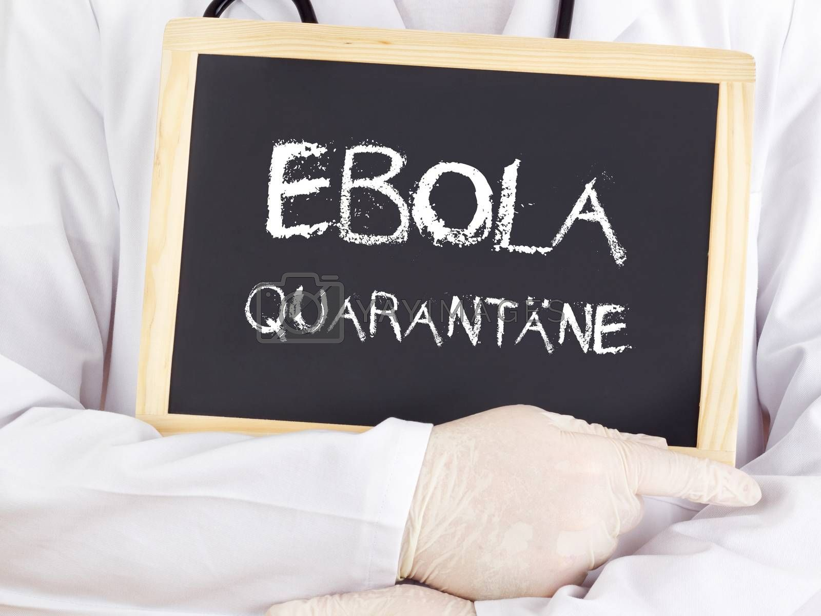 Doctor shows information: Ebola quarantine in german