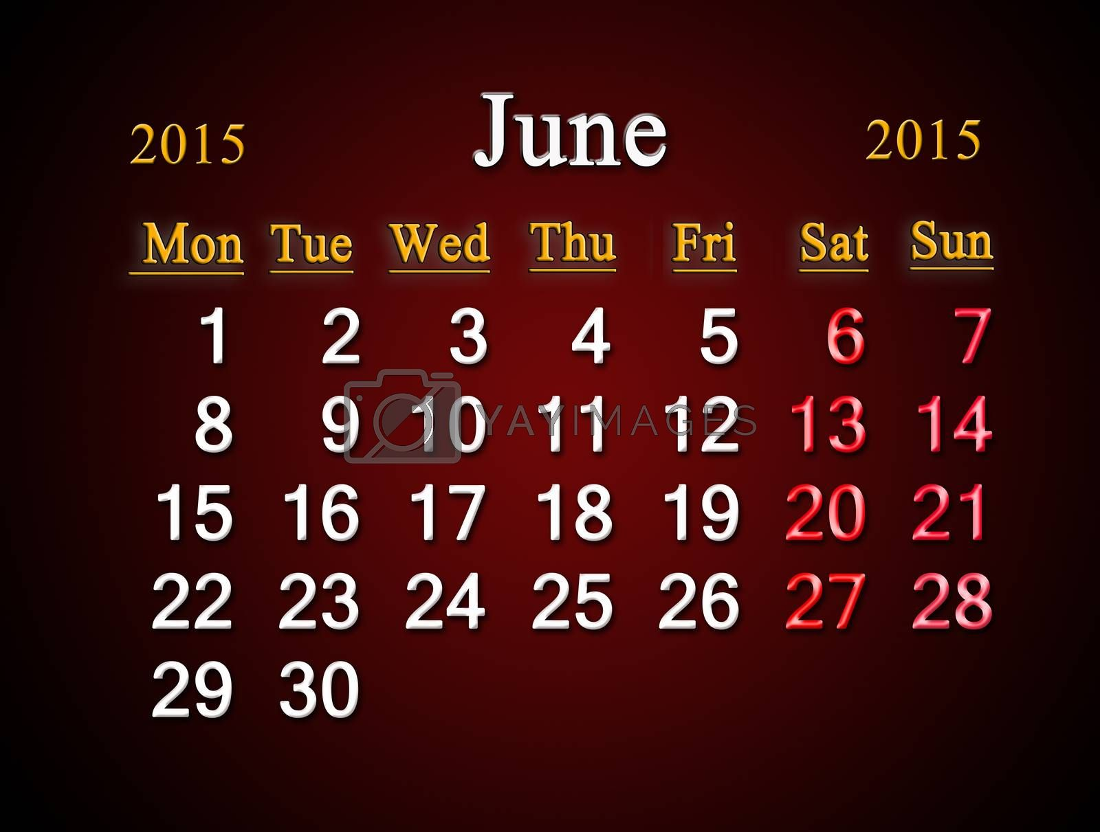 beautiful claret calendar on June of 2015 year