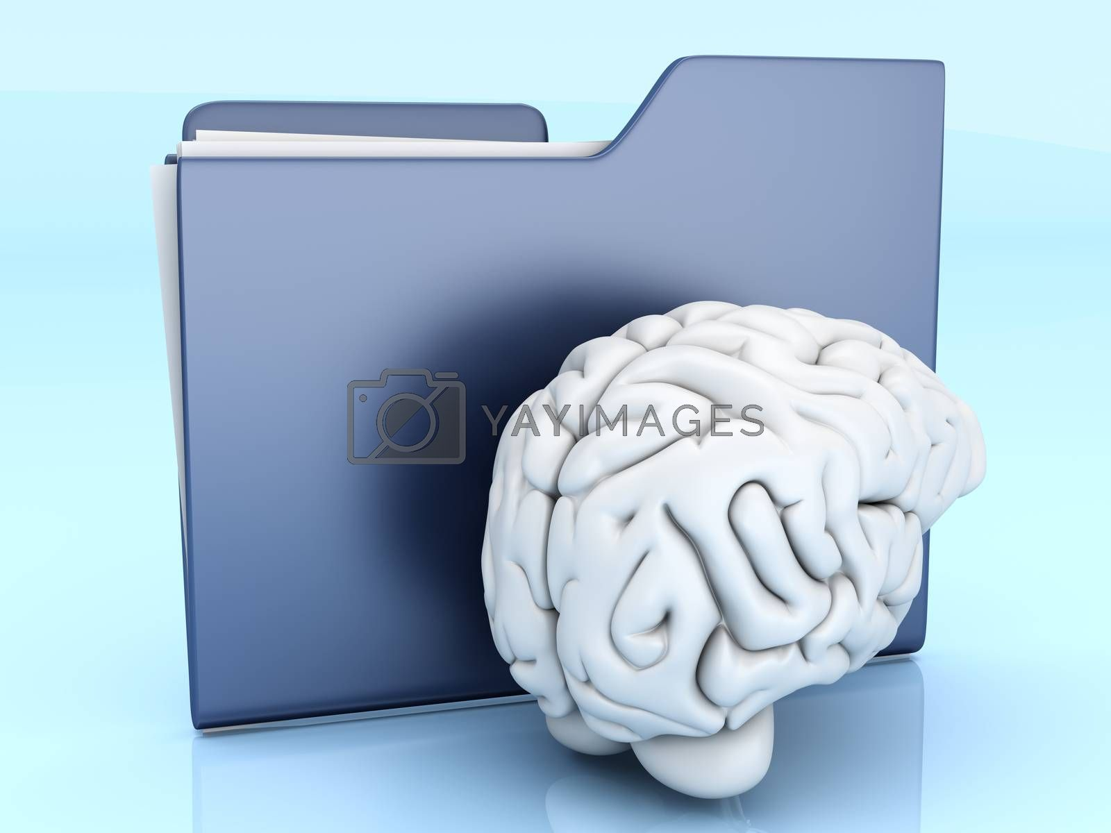 Brain and a Folder. 3D illustration.