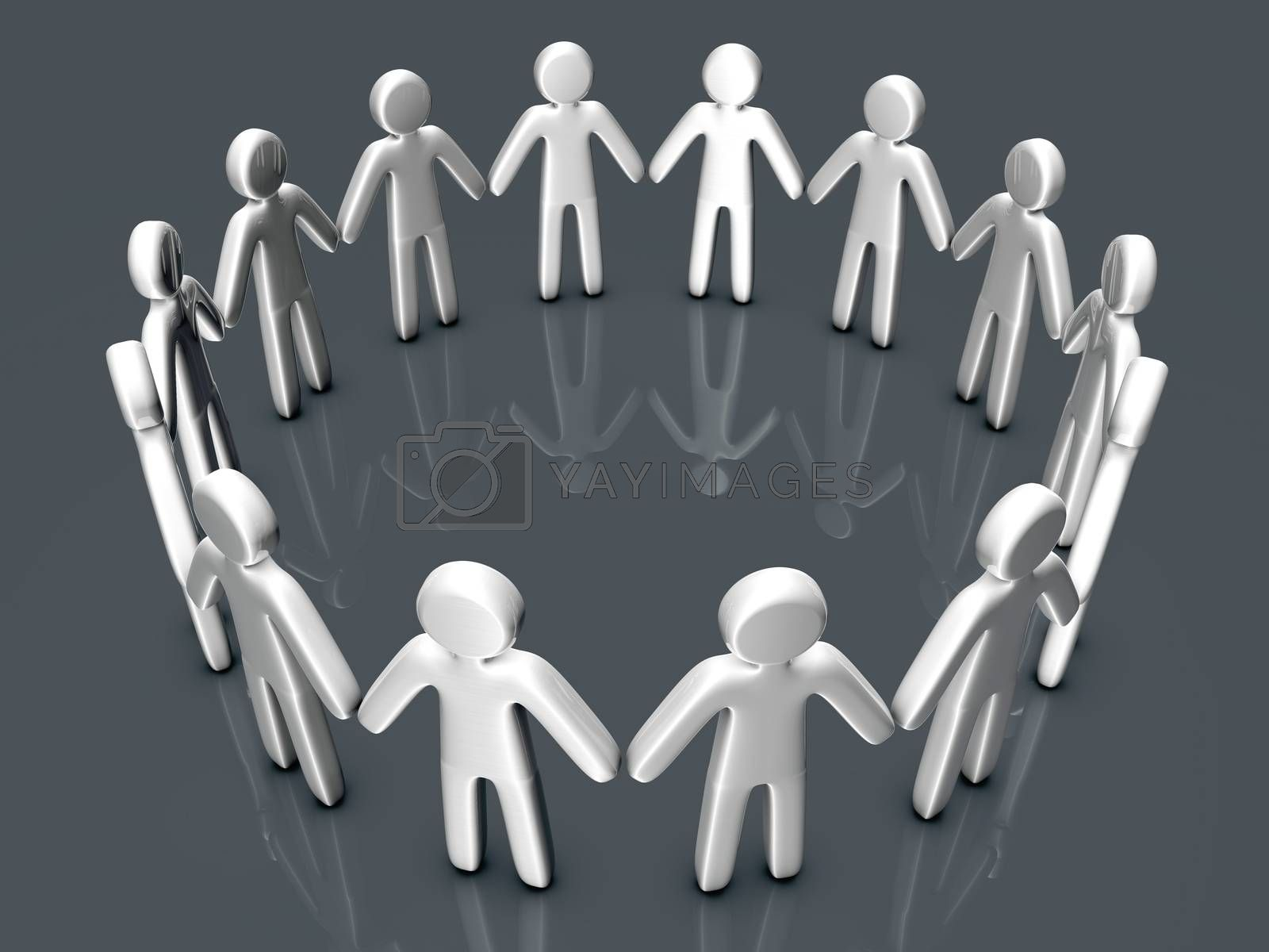 A group of icon people standing in a circle. 3D rendered Illustration.