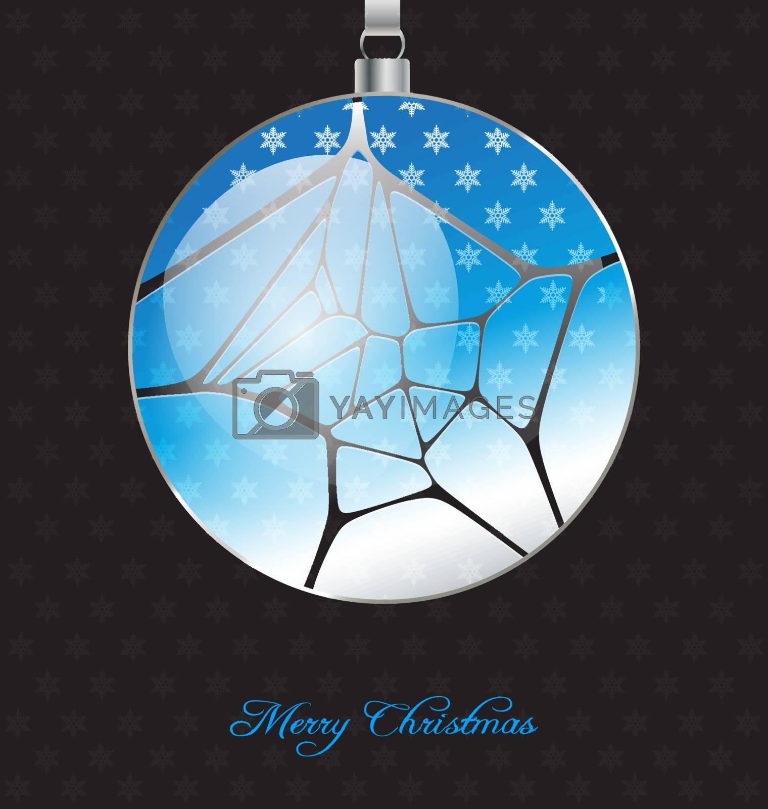 Elegant christmas background with glossy christmas ball embellishment for creative design