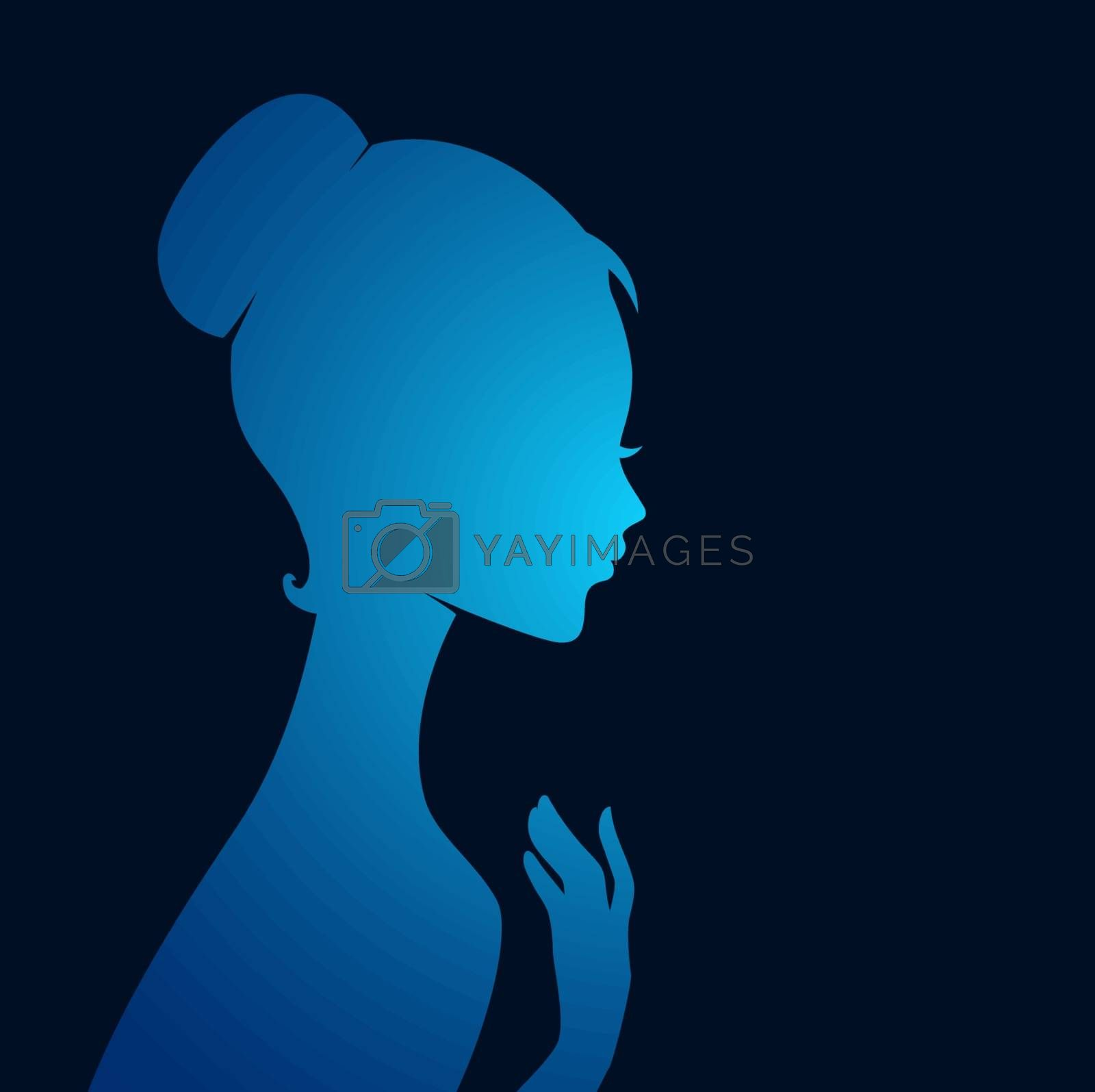 Vector illustration of Beautiful woman's silhouette image