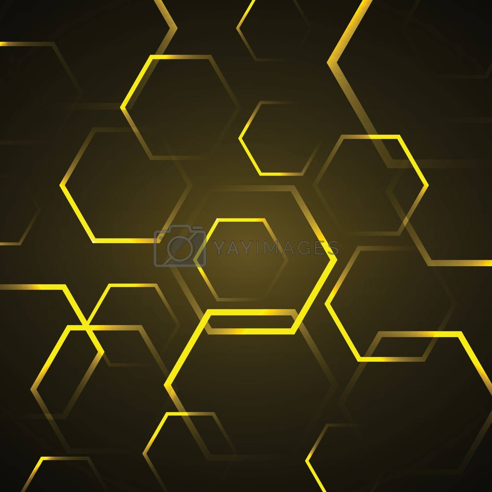 Abstract background with yellow hexagon, stock vector